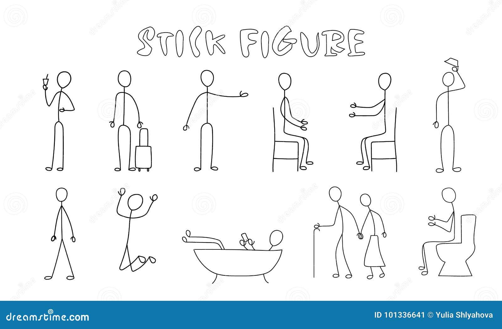 Placez Le Dessin Simple Daction De Personnes Illustration De