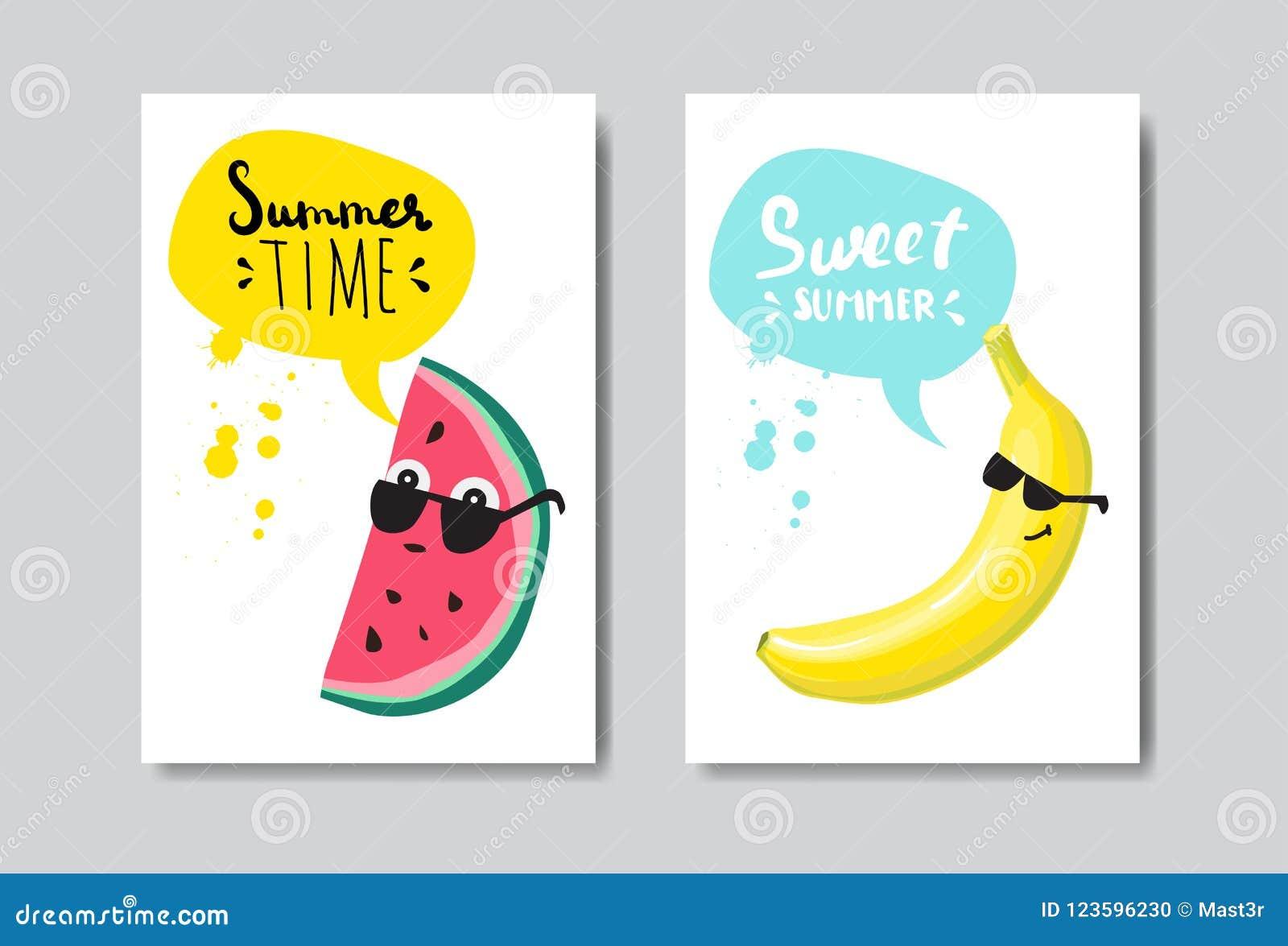 Placez le label typographique de conception d isolement par insigne de banane de pastèque d été Vacances de saison marquant avec