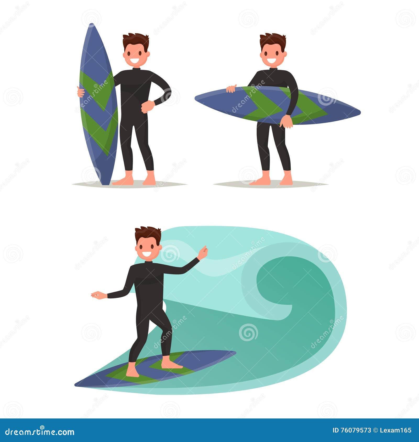 Placez le surfer d homme Posant avec la planche de surf, montant sur les vagues Vect