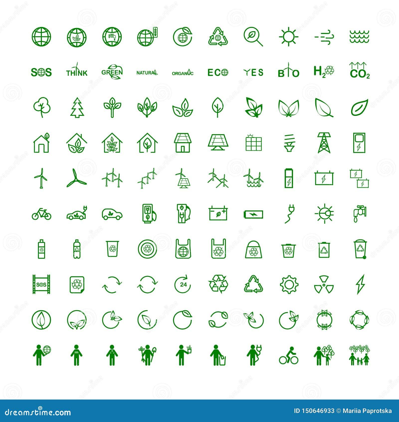 Placez les icônes sur l écologie de sujet