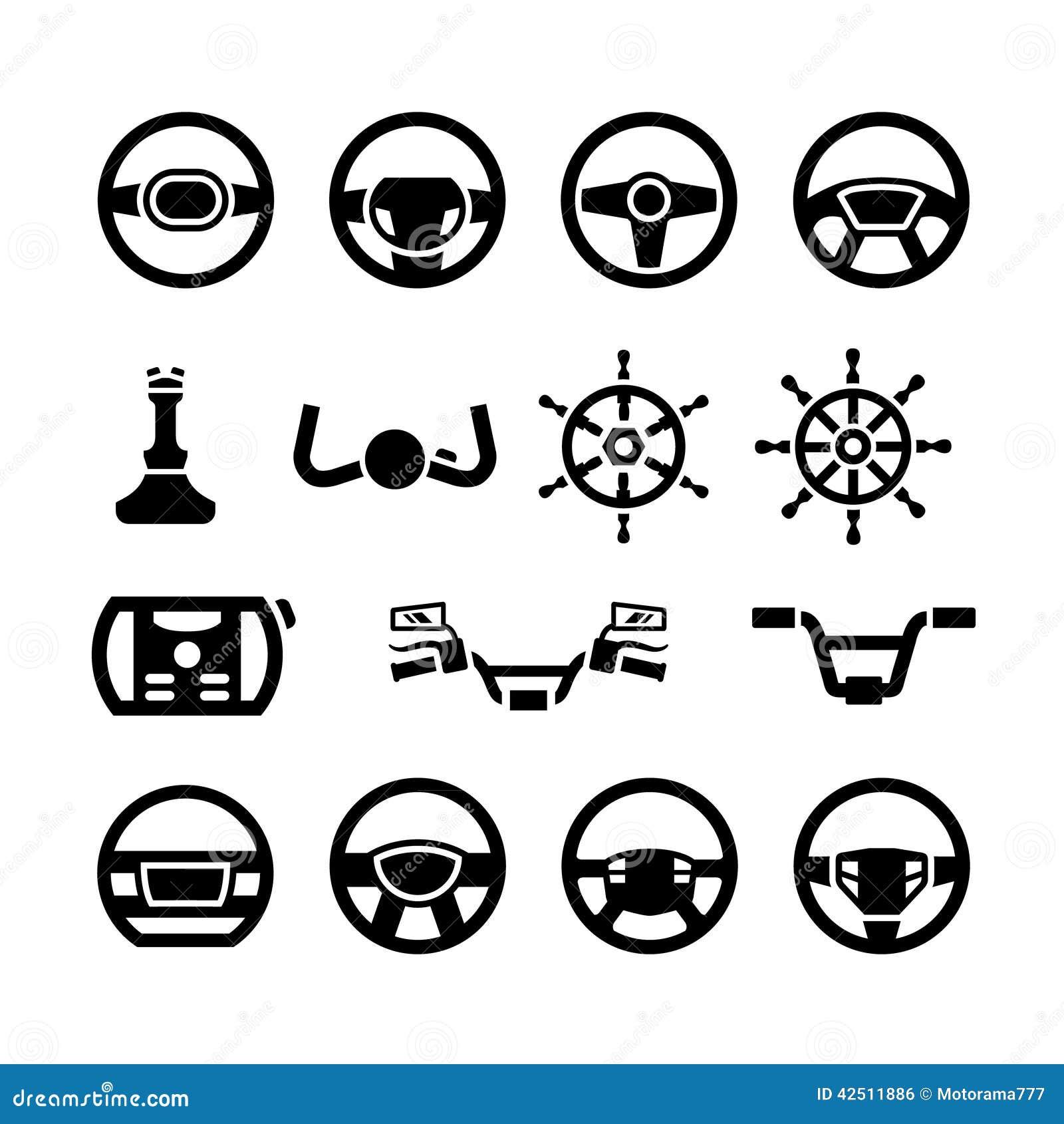 Placez les icônes du volant, du guidon marin de direction, de barre, de bicyclette et de moto