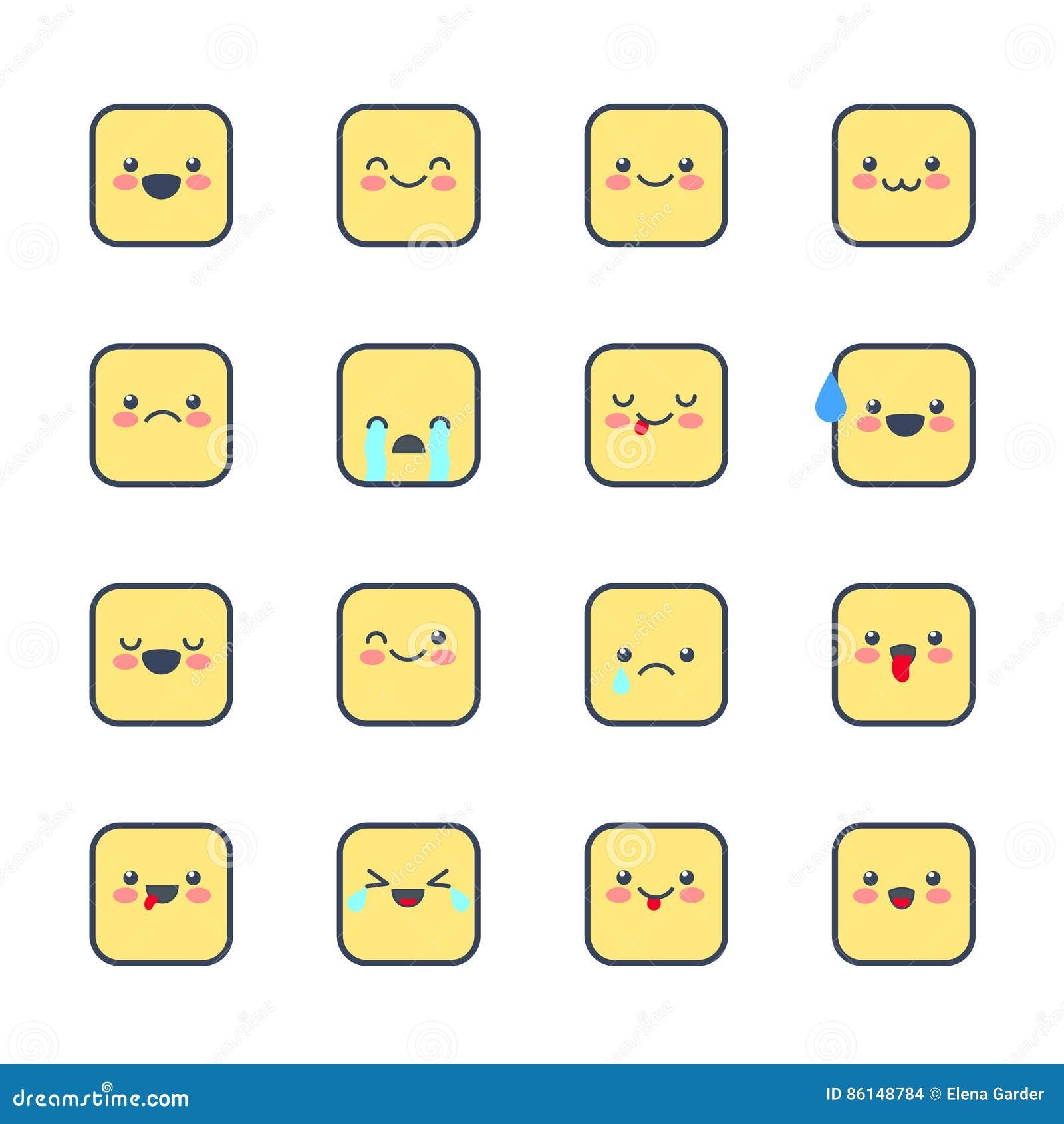 Placez les icônes souriantes pour des applications et la causerie Émoticônes avec différentes émotions d isolement sur le fond bl