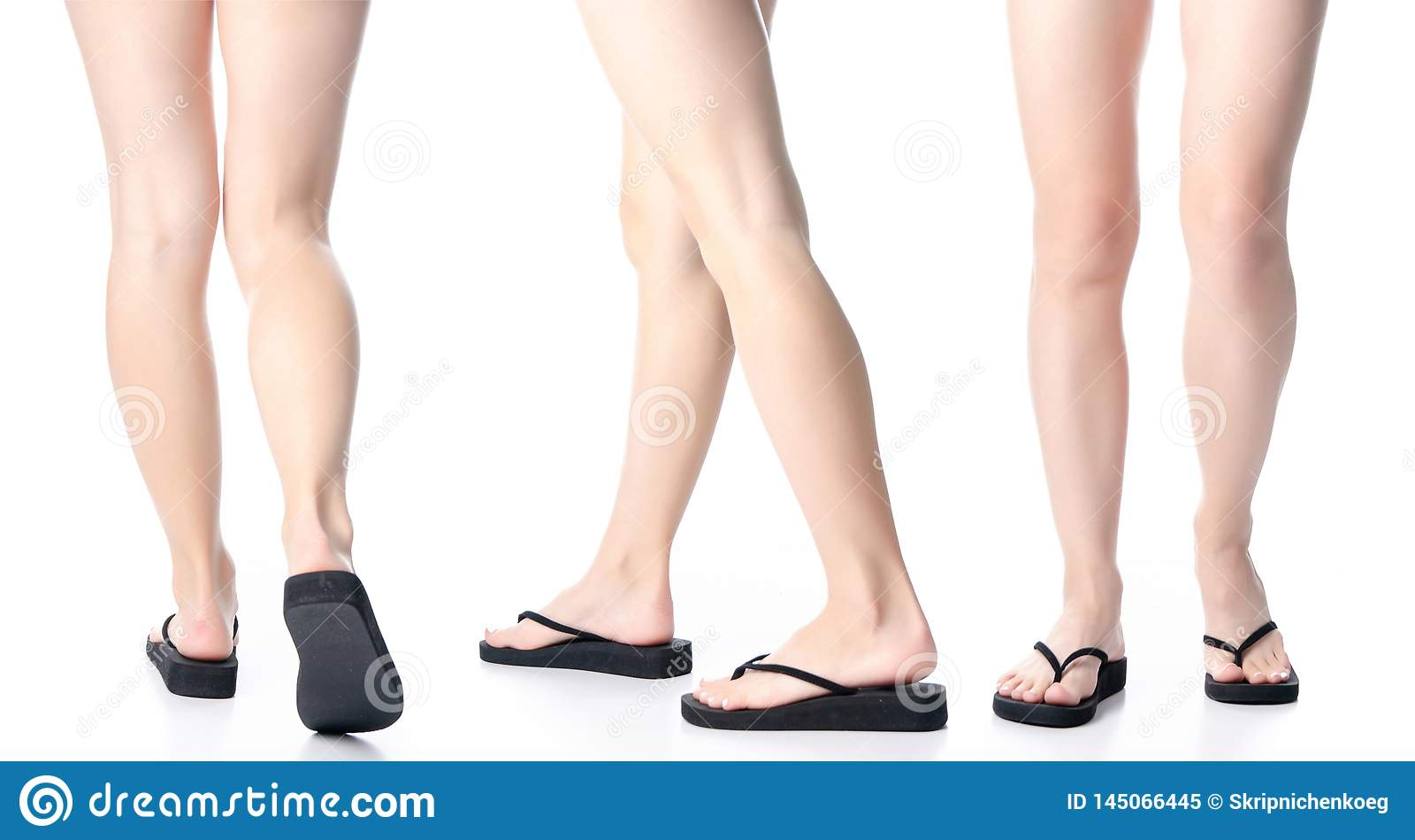 Placez les jambes de femme dans des bascules électroniques noires