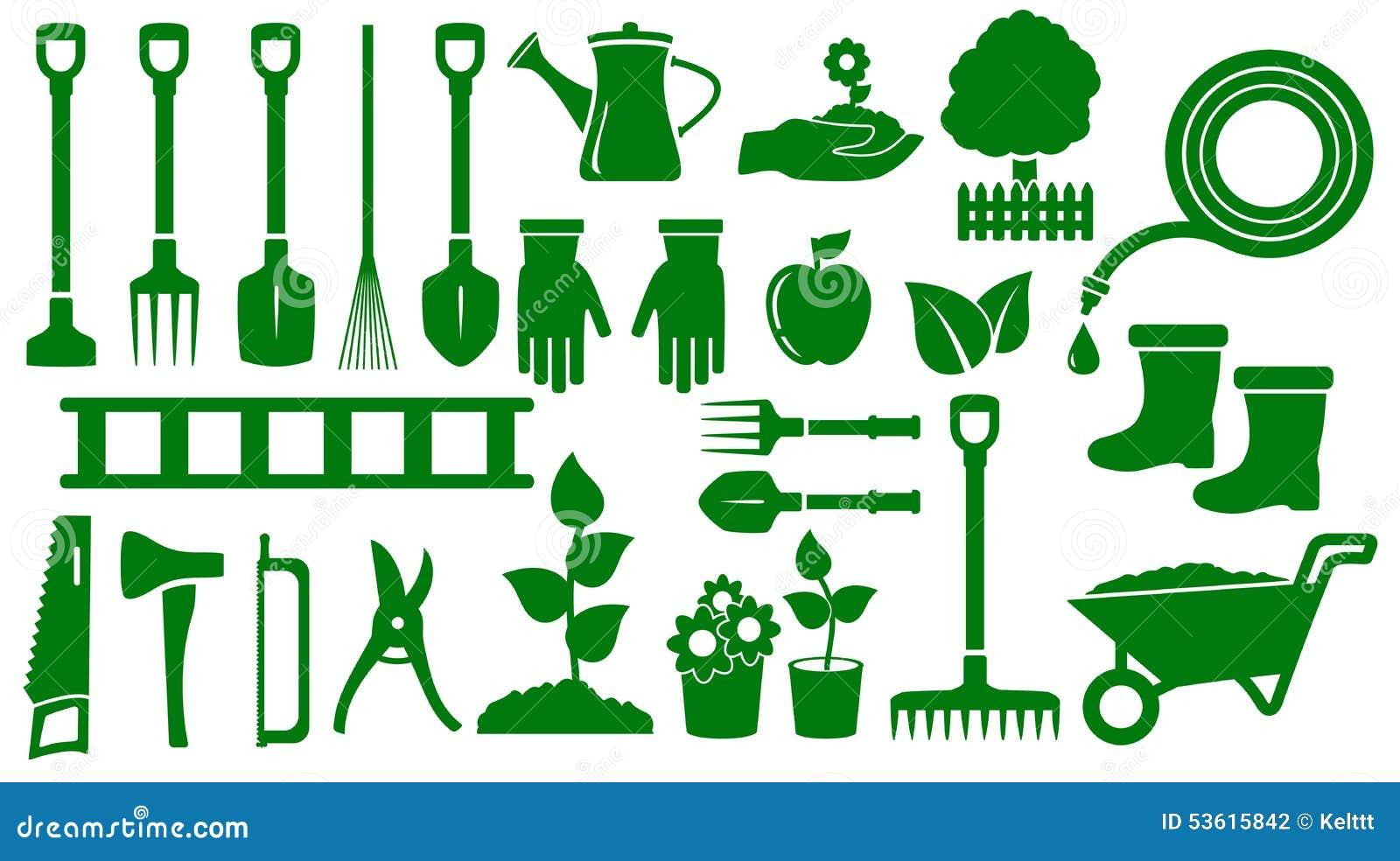 placez les outils de jardin verts d 39 isolement illustration. Black Bedroom Furniture Sets. Home Design Ideas