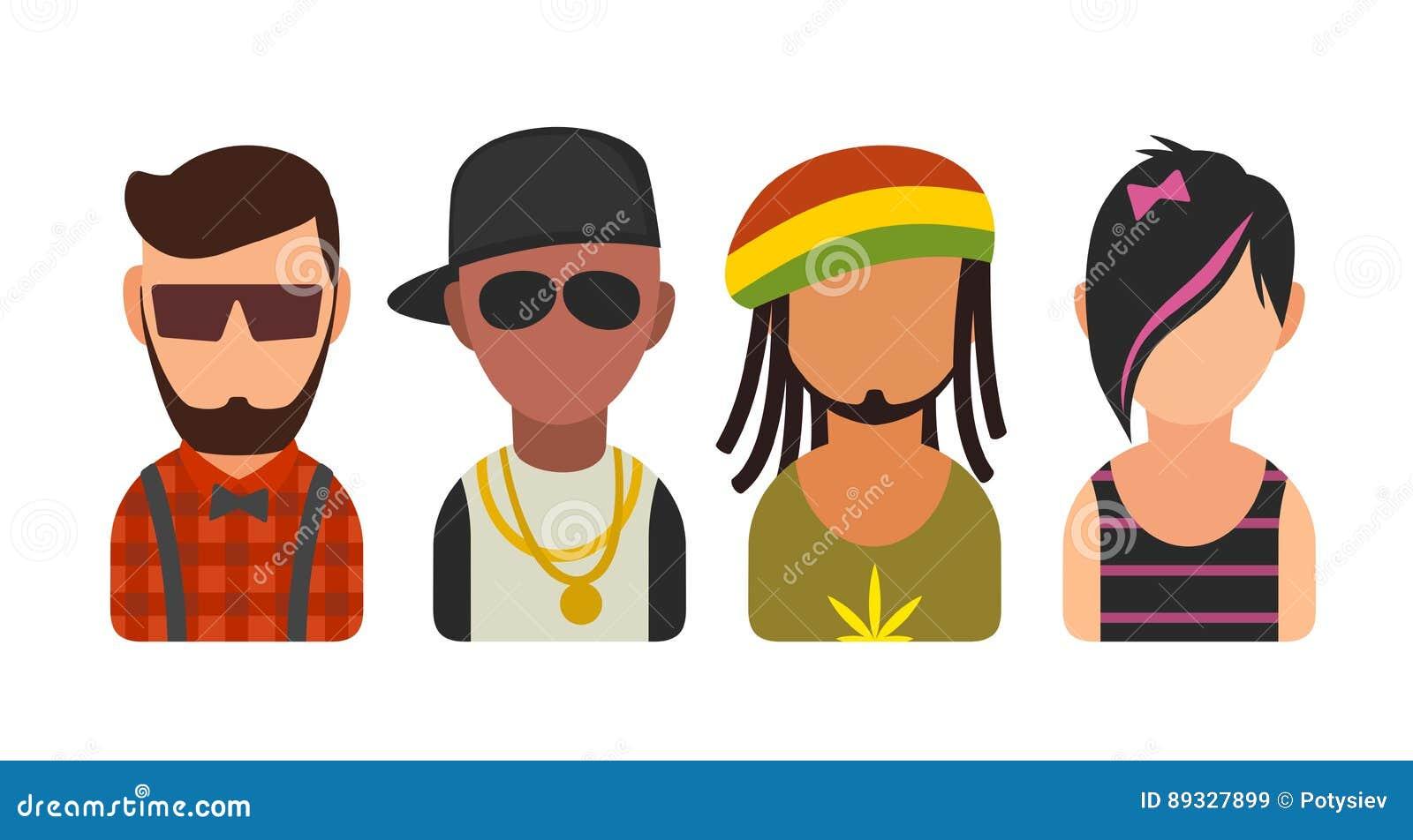 Placez les personnes différentes de cultures secondaires d icône Hippie, raper, emo, rastafarian