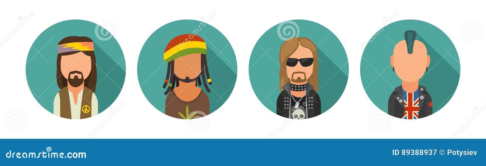 Placez les personnes différentes de cultures secondaires d icône Hippie, raper, emo, rastafarian, punk, cycliste, goth, hippie, m