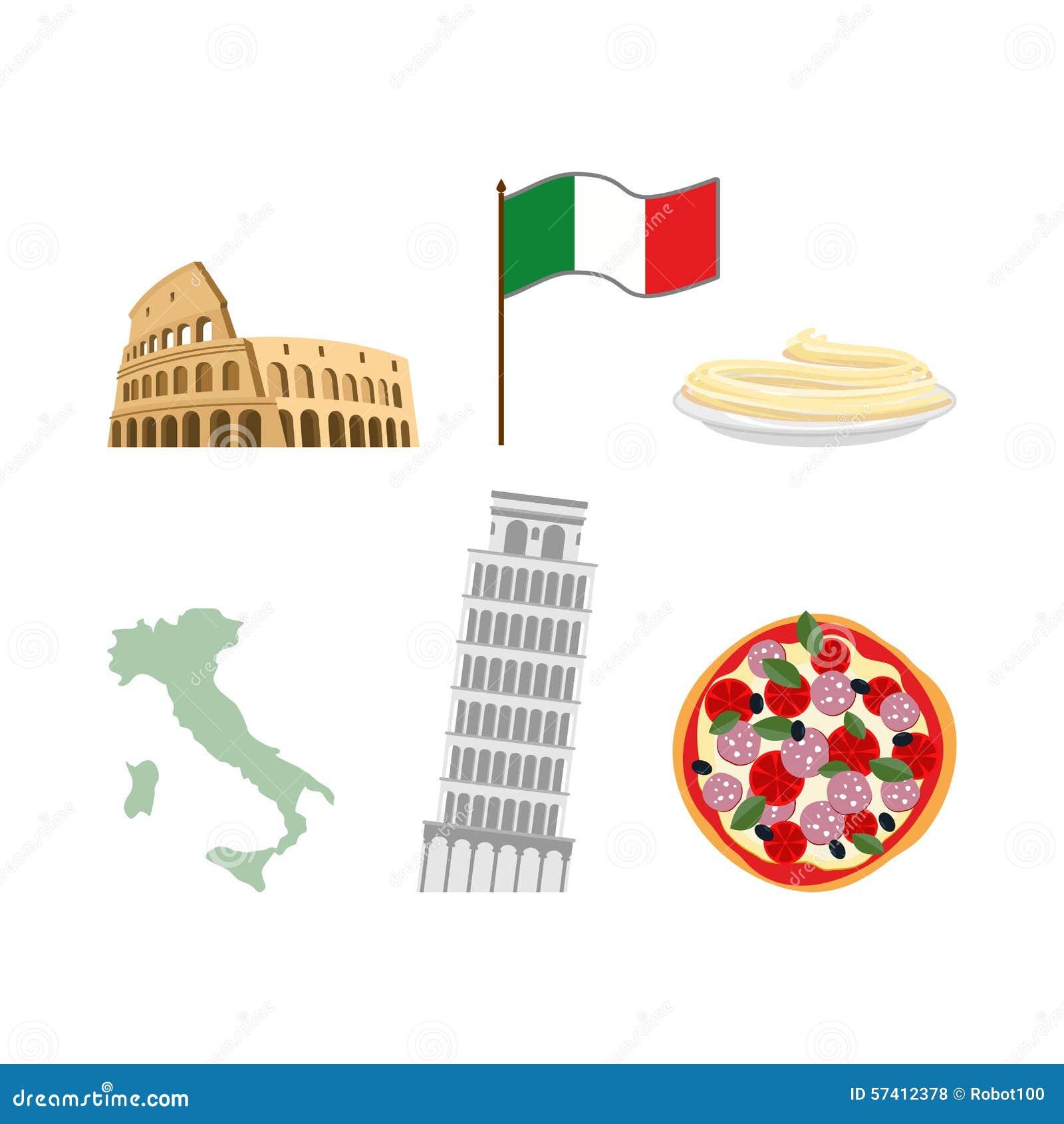 Célèbre Placez Les Symboles D'icônes De L'Italie Drapeau Et Carte  ZJ85