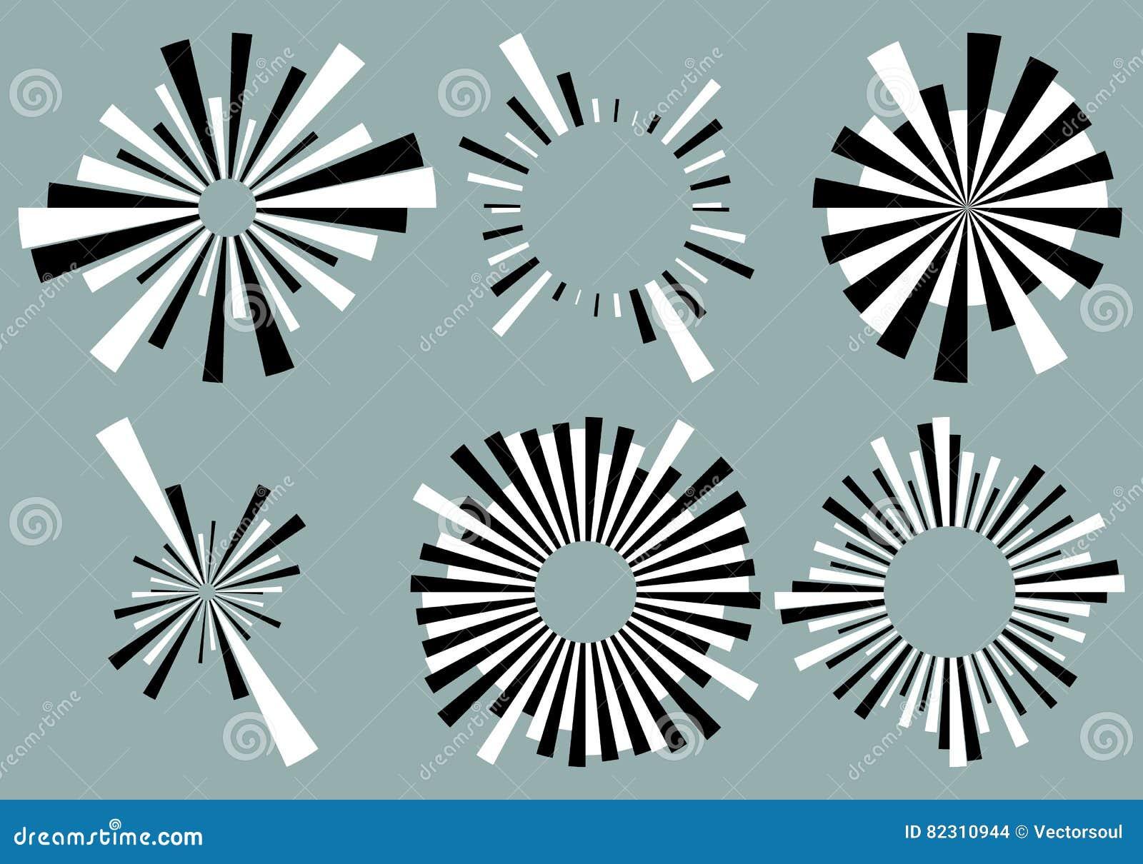 Placez 6 lignes radiales, rayons, éléments de faisceaux Divers starburst, le soleil