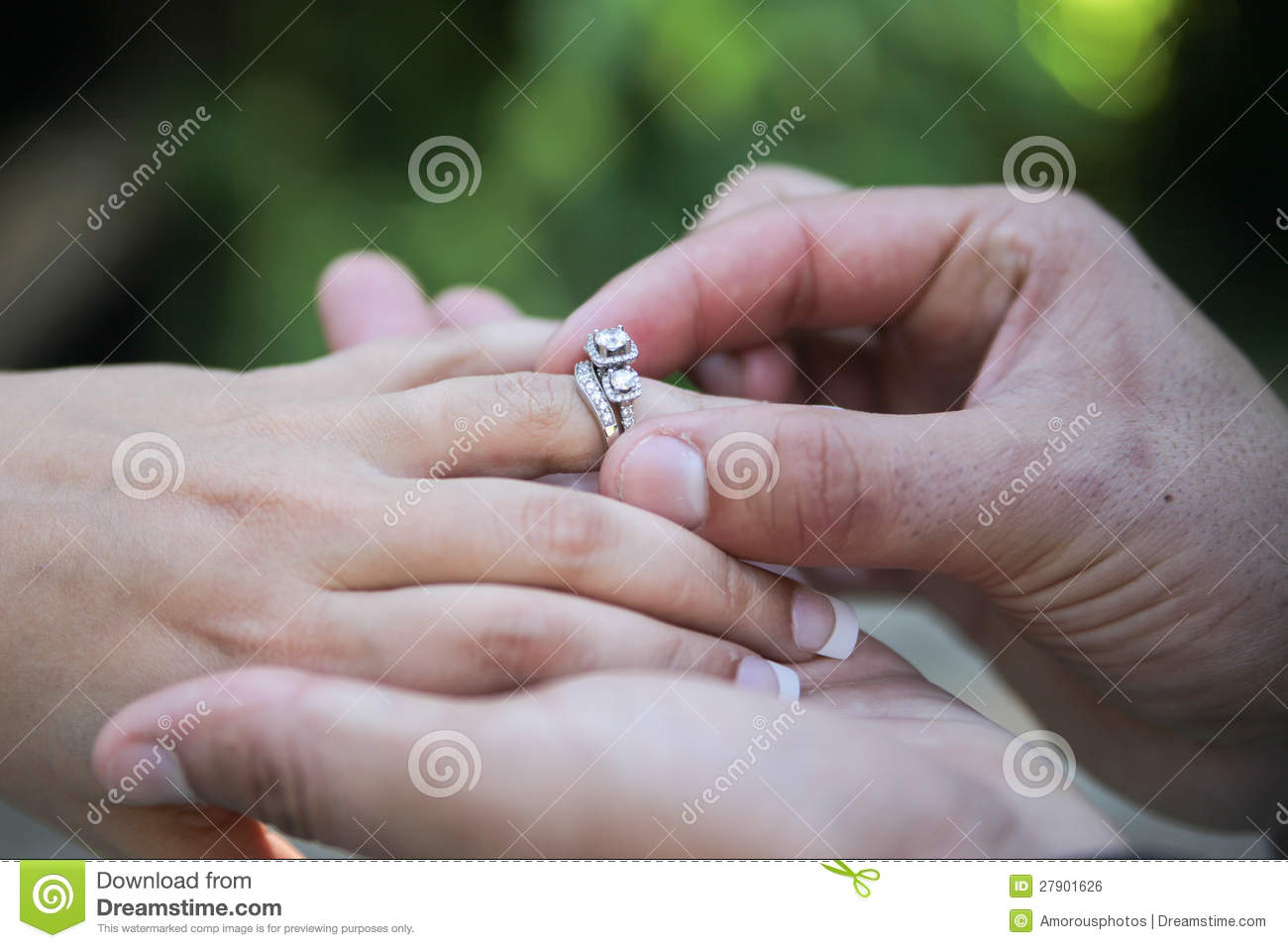 Bride Finger Groom Placing Ring Wedding