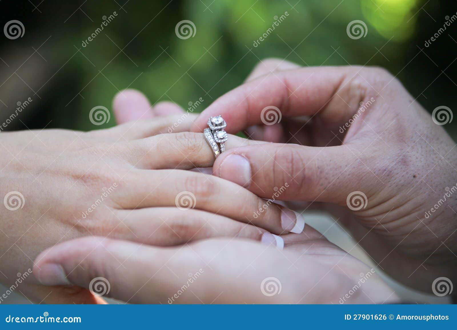 Placing Wedding Ring On Finger Royalty Free Stock Image