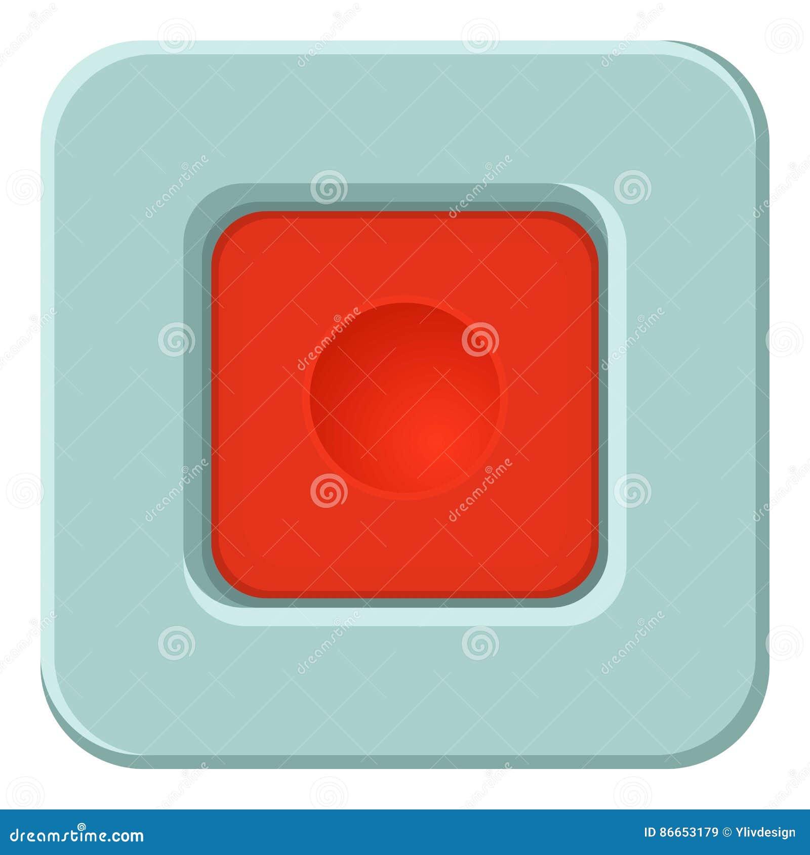 Placu Czerwonego guzika ikona, kreskówka styl