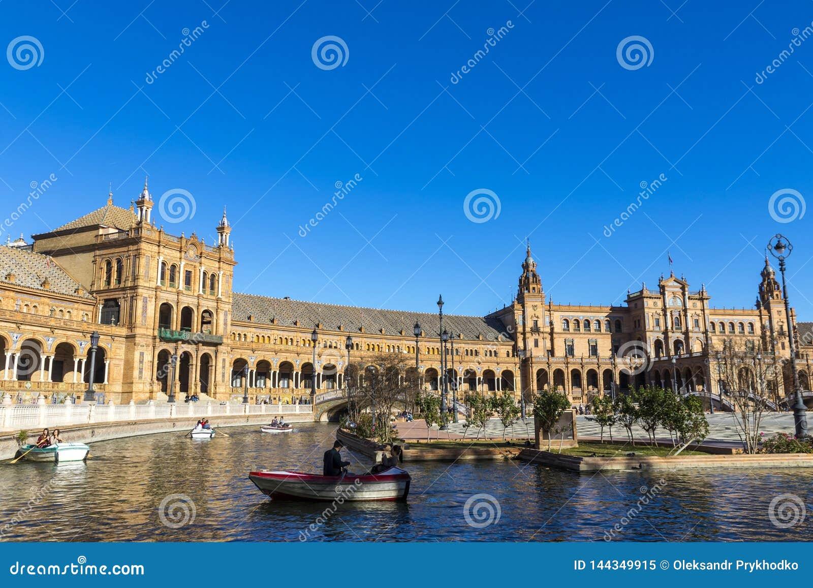 Placu De Espana Hiszpania kwadrat w Seville, Andalusia, Hiszpania