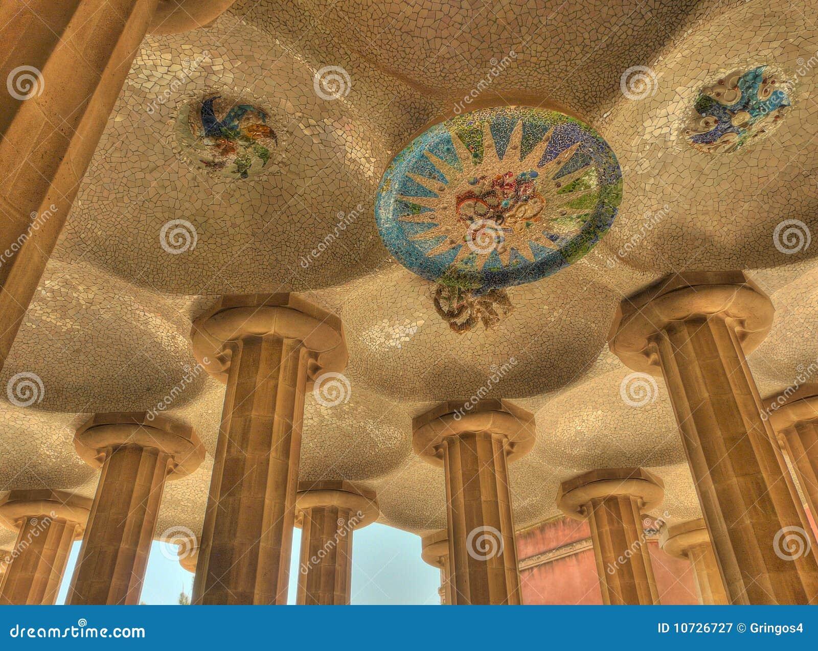 Plafond Barcelone Espagne d art de mosaïque de guell de Parc
