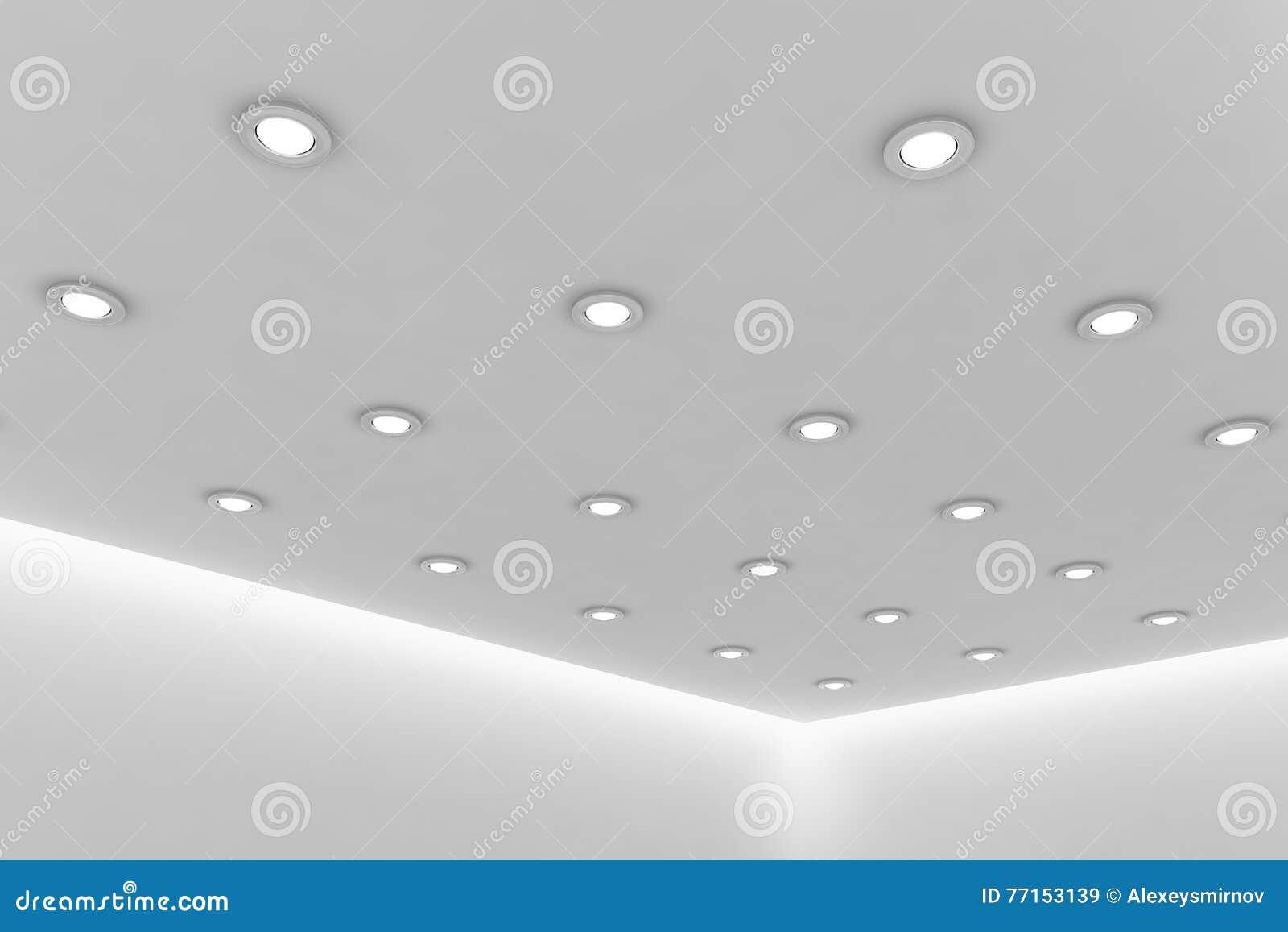 Plafond de bureau de pièce blanche vide avec les lampes rondes de plafond