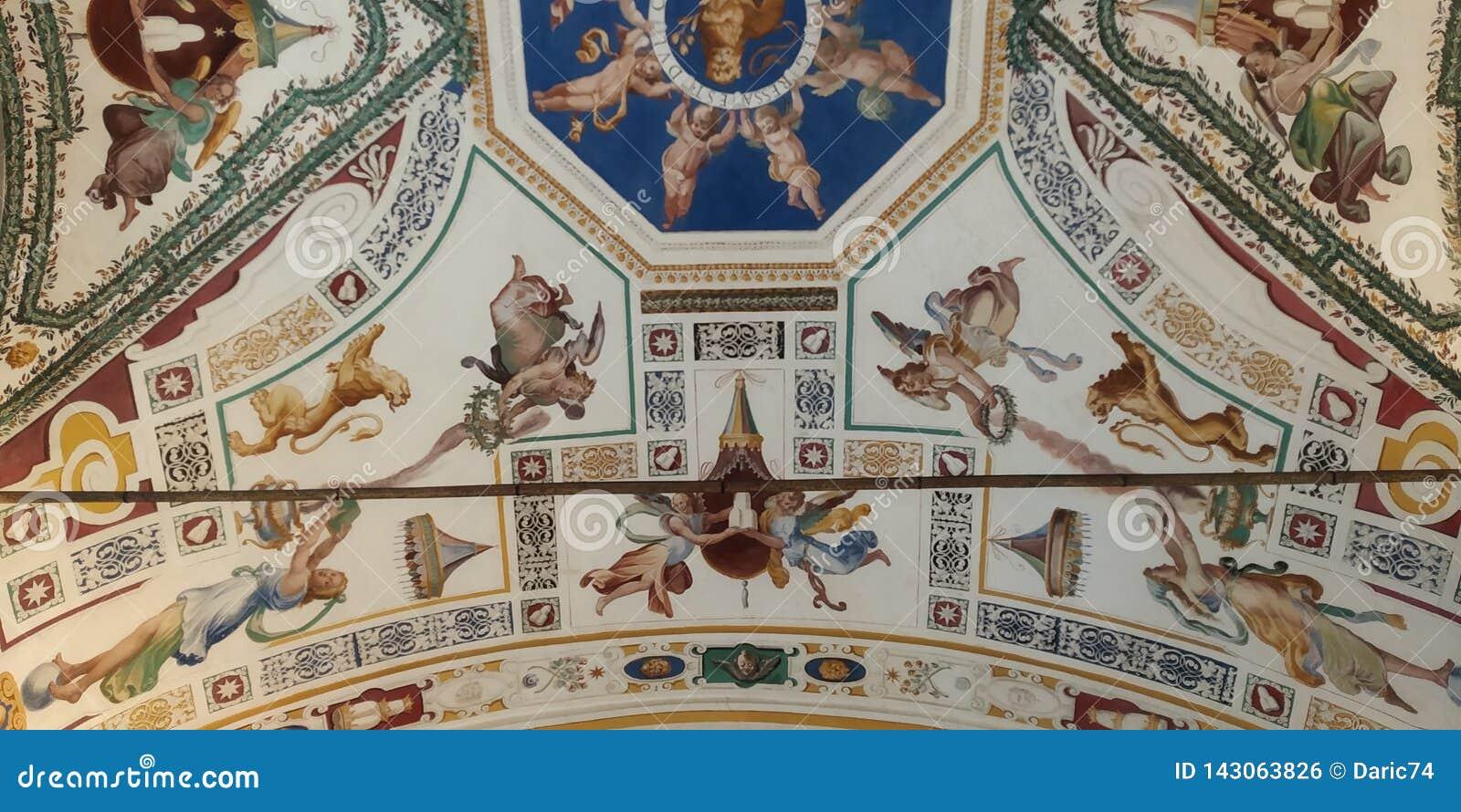 Plafond de couloir de musée de Vatican Groupe d art