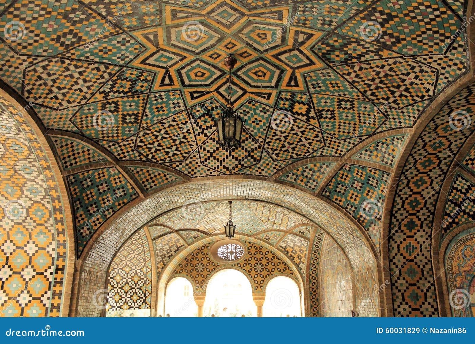 Plafondkunst in Golestan-paleis, Teheran, Iran