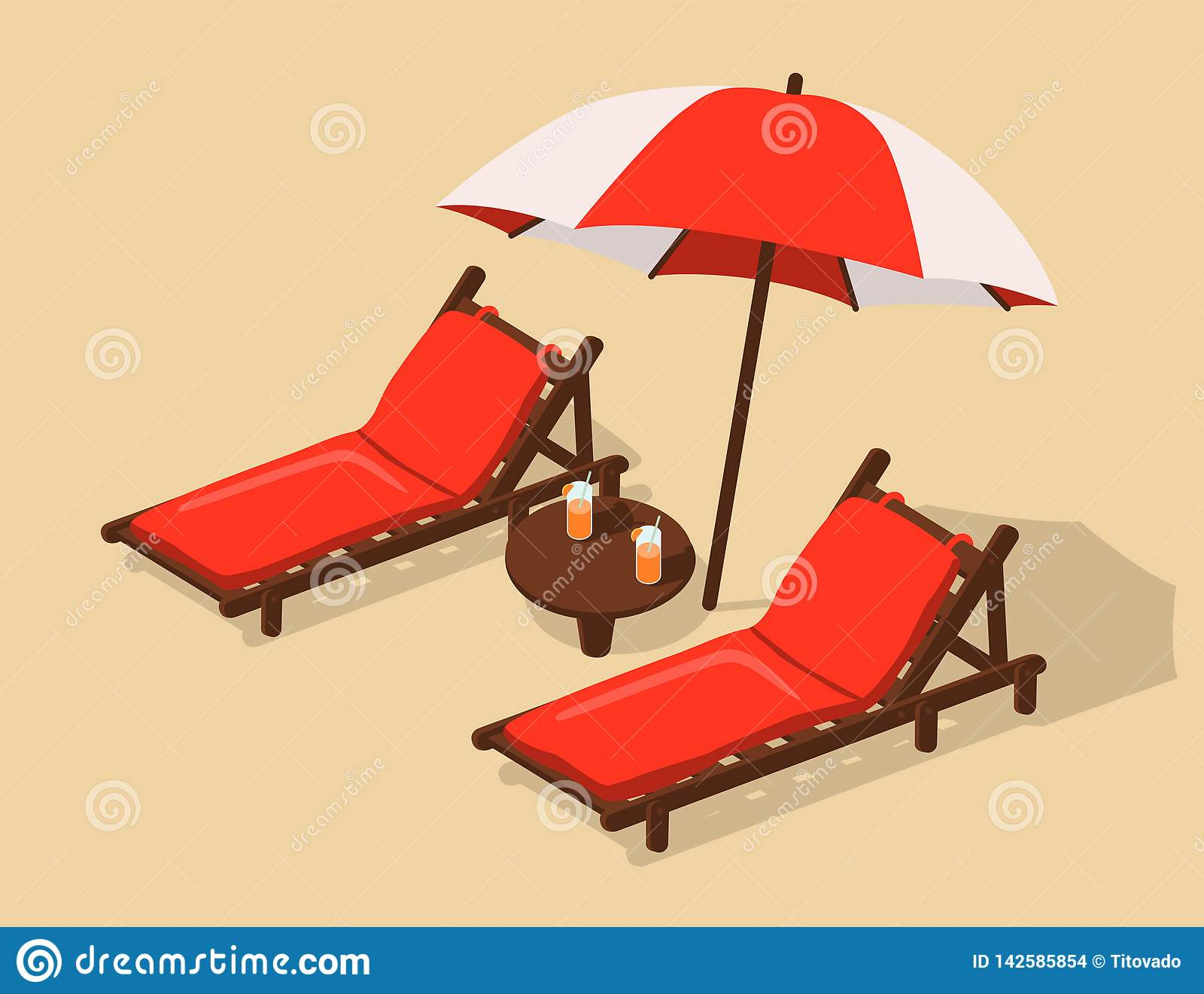 Plage avec des chaises longues sous un umbrell