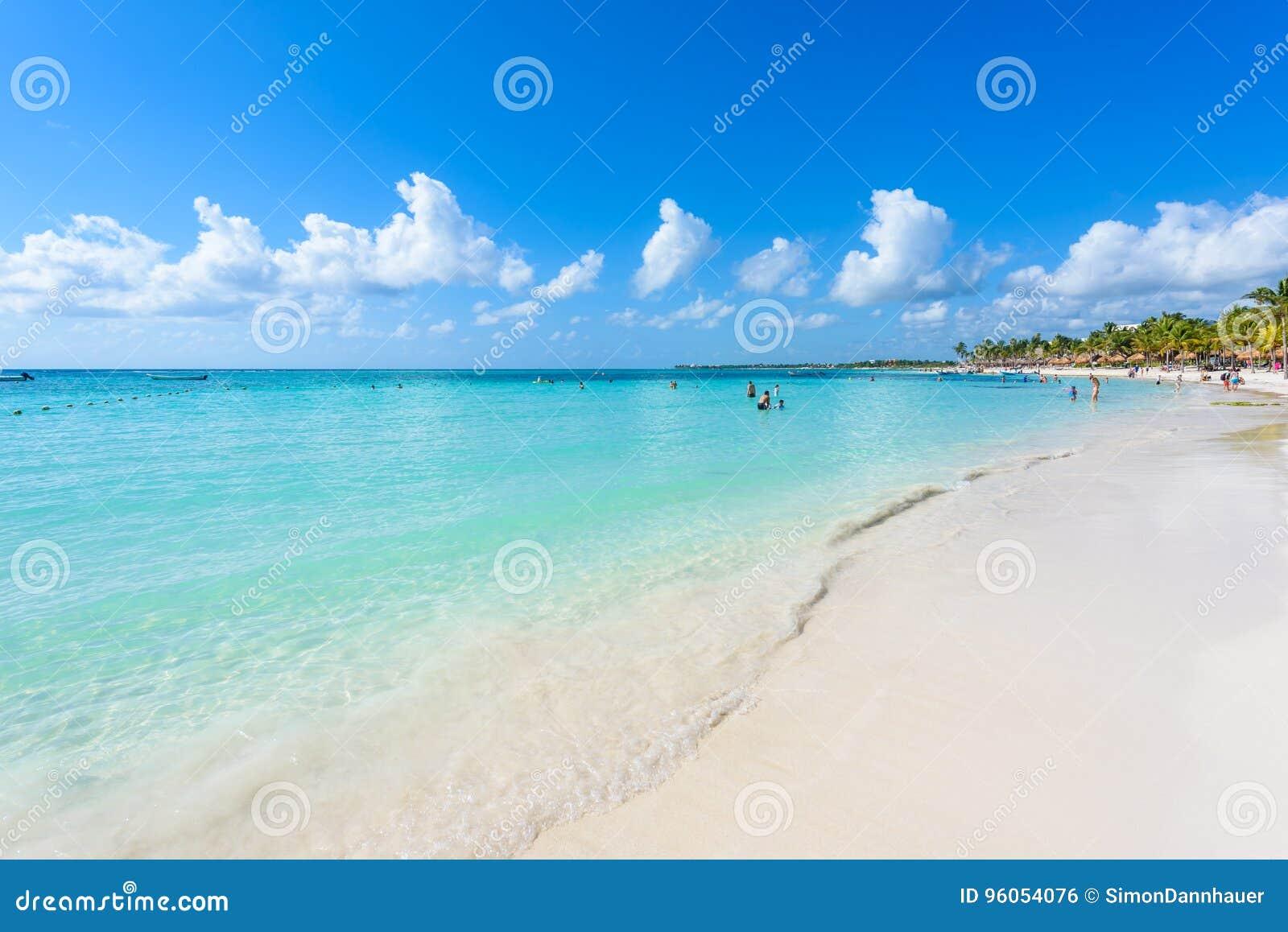 Plage d Akumal - plage de baie de paradis dans Quintana Roo, Mexique - côte des Caraïbes
