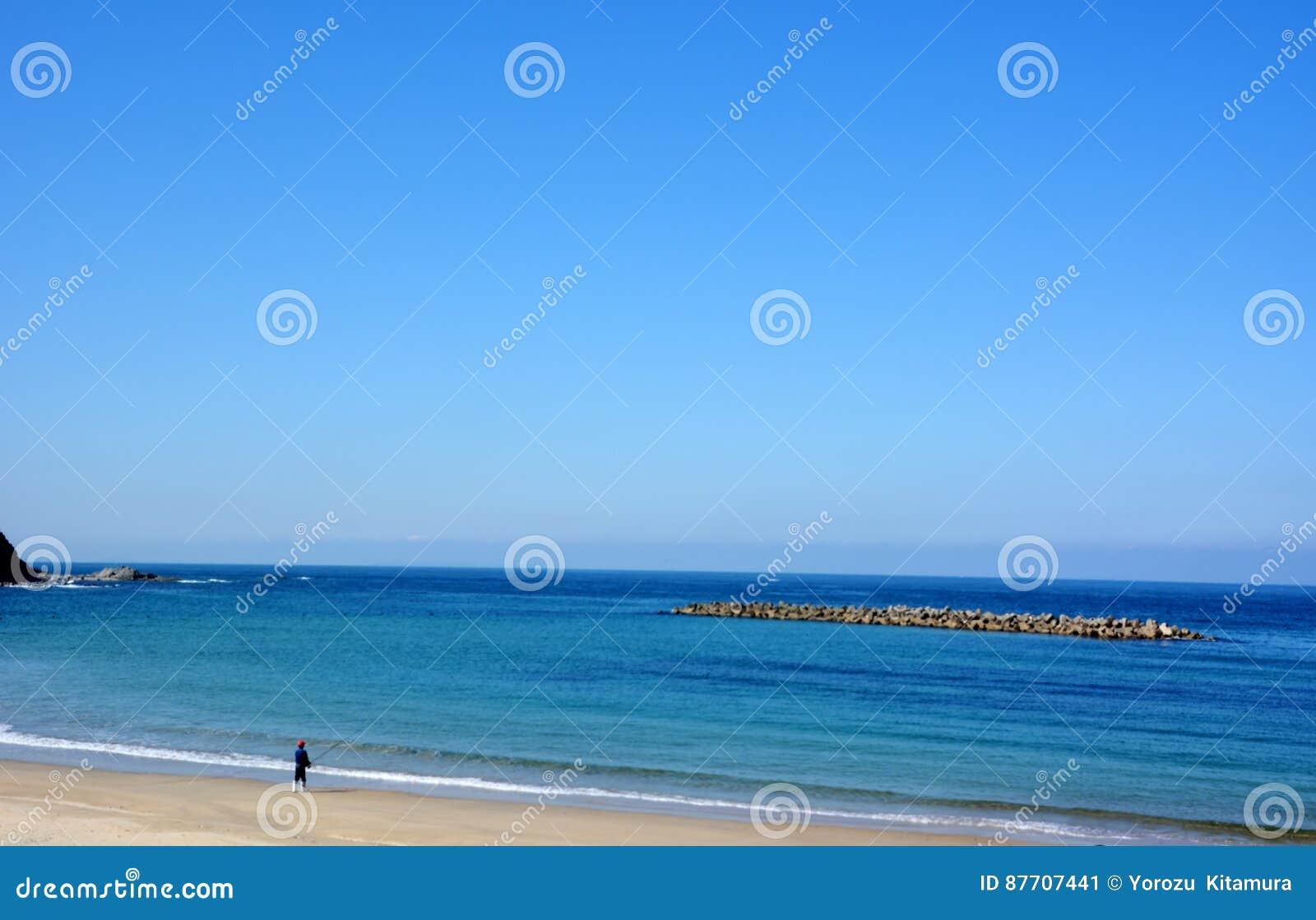 Plage d octobre de Japonais/plage de Fukuok Ikinomathubara