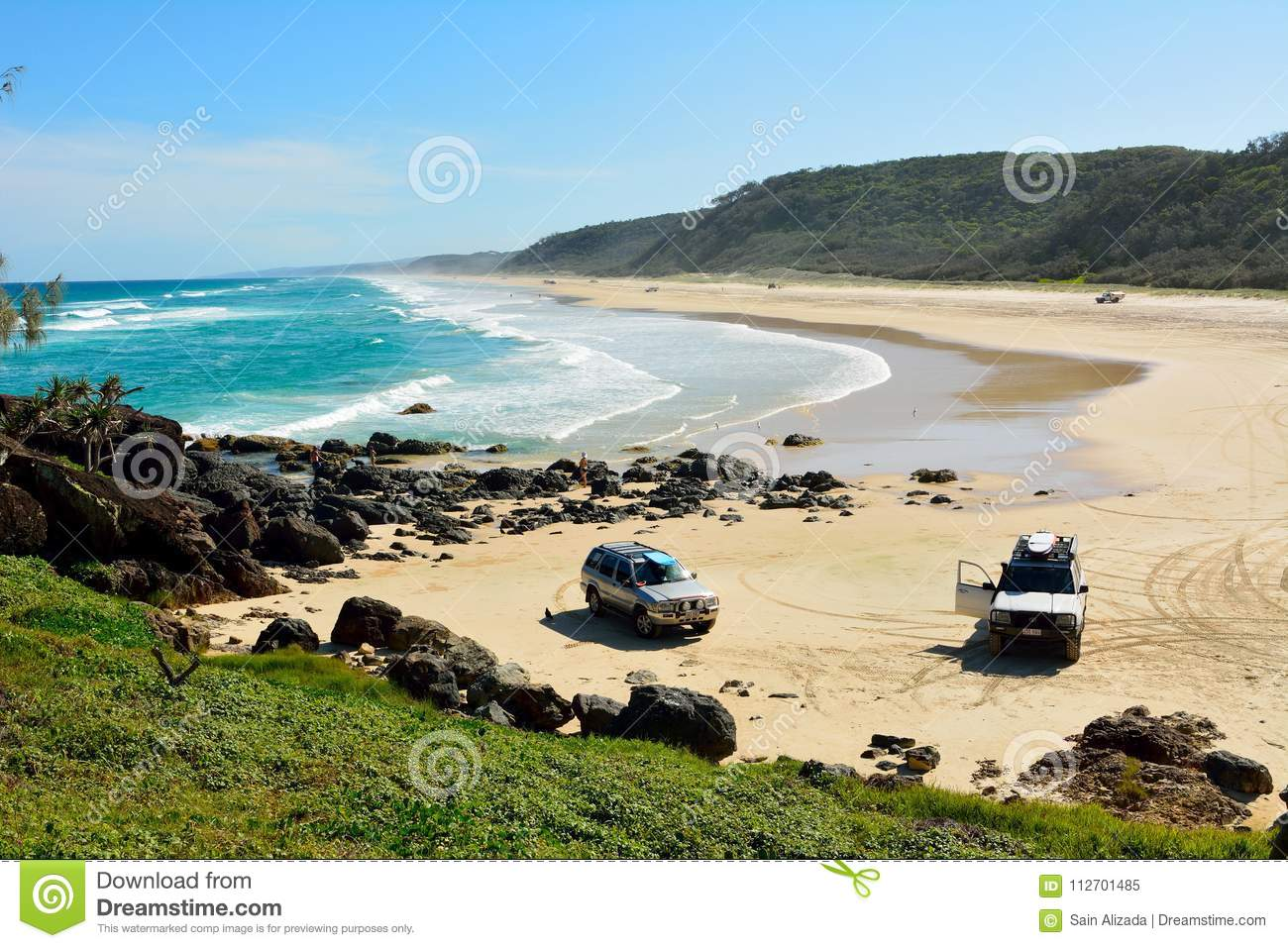 Plage 40-mile dans grand Sandy National Park au Queensland