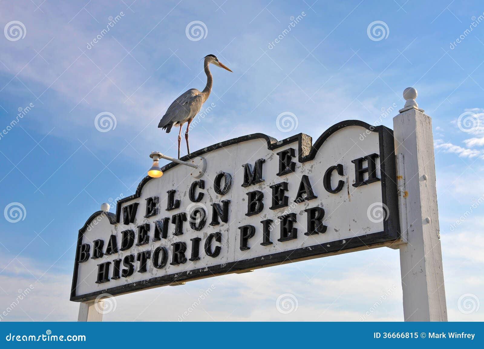 Plage Pier Sign historique de Bradenton