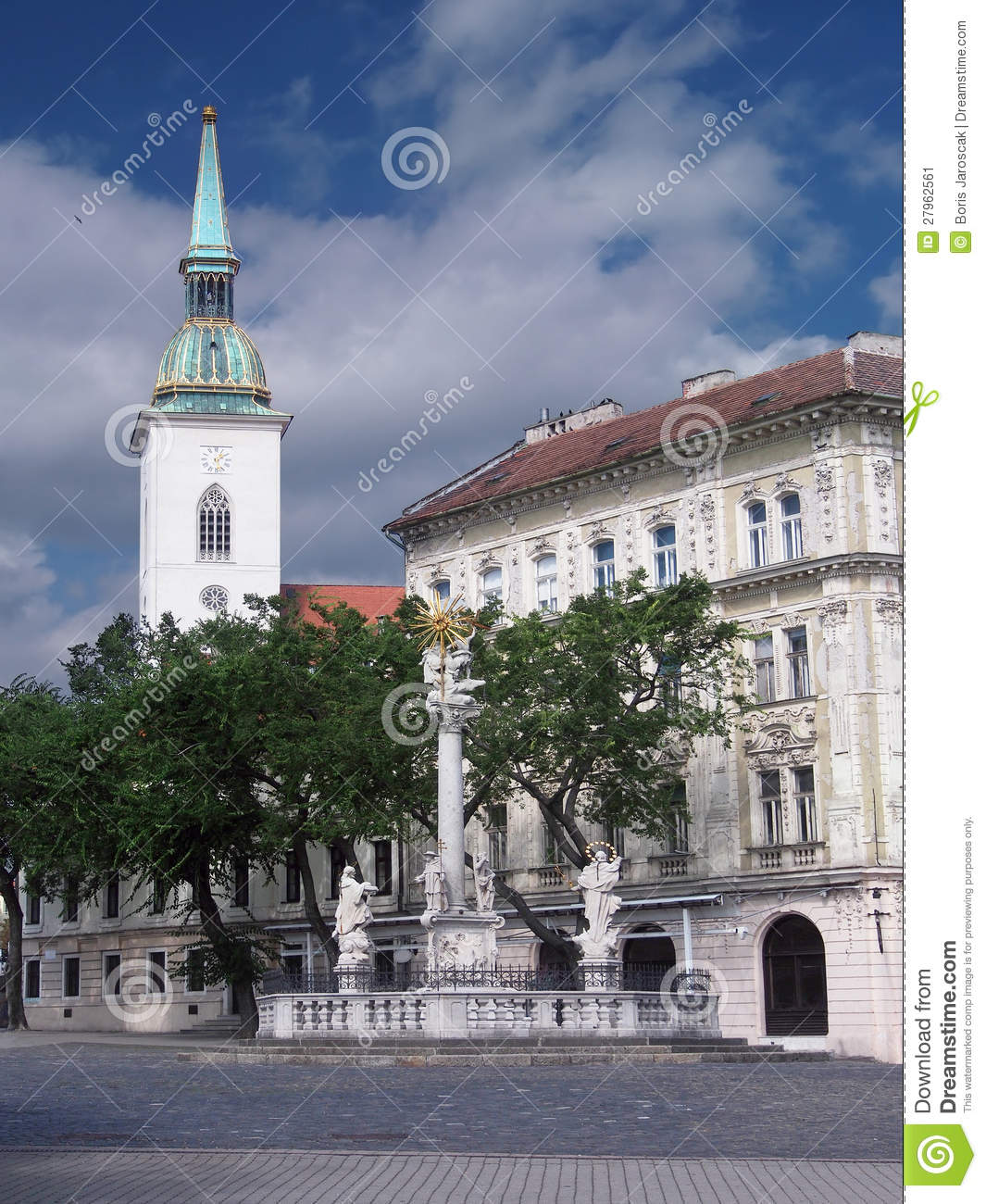 Plague column and cathedral in Bratislava