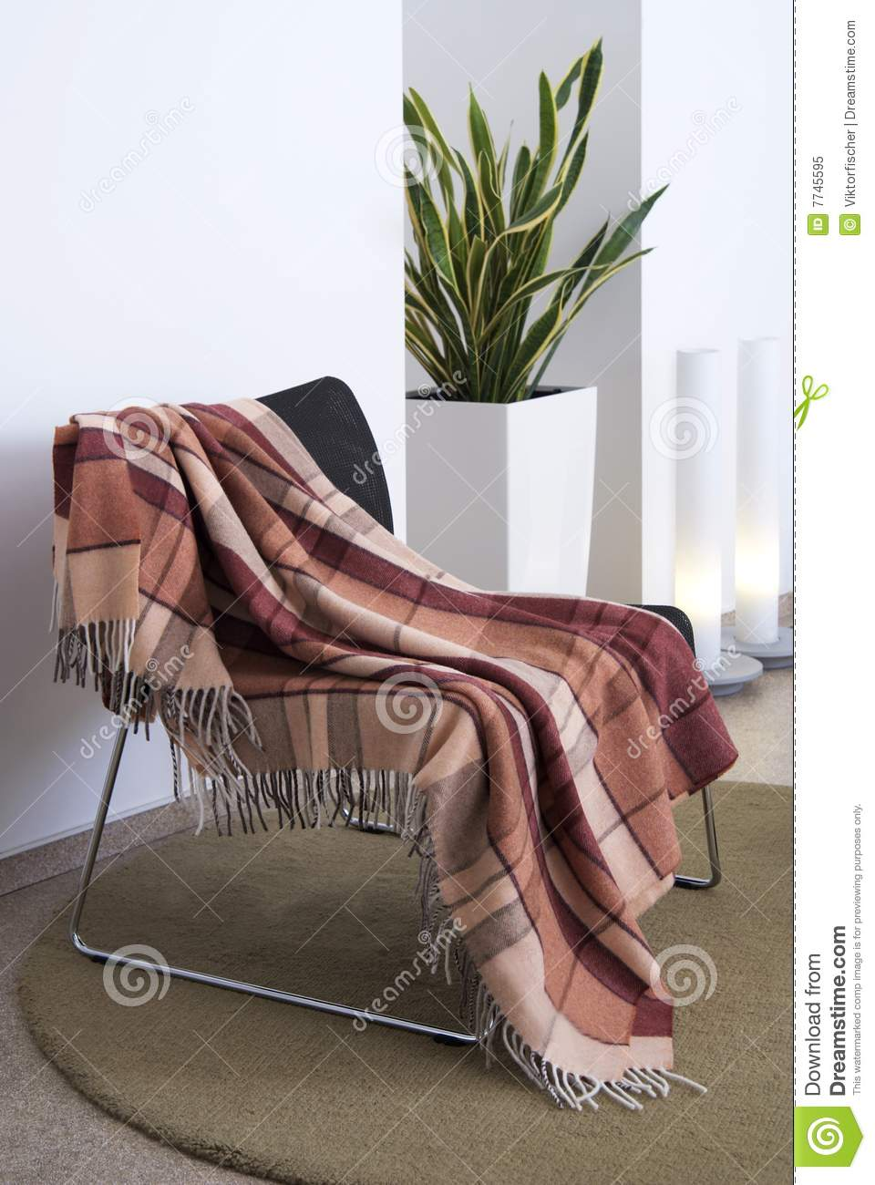 Plaid Draped Over A Chair Royalty Free Stock Photo Image