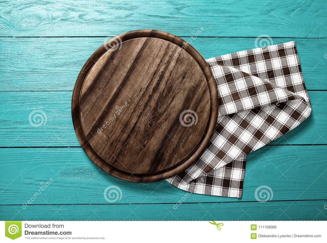 Plaid Tablecloth And Cutting Board For Pizza On Blue Wooden ...