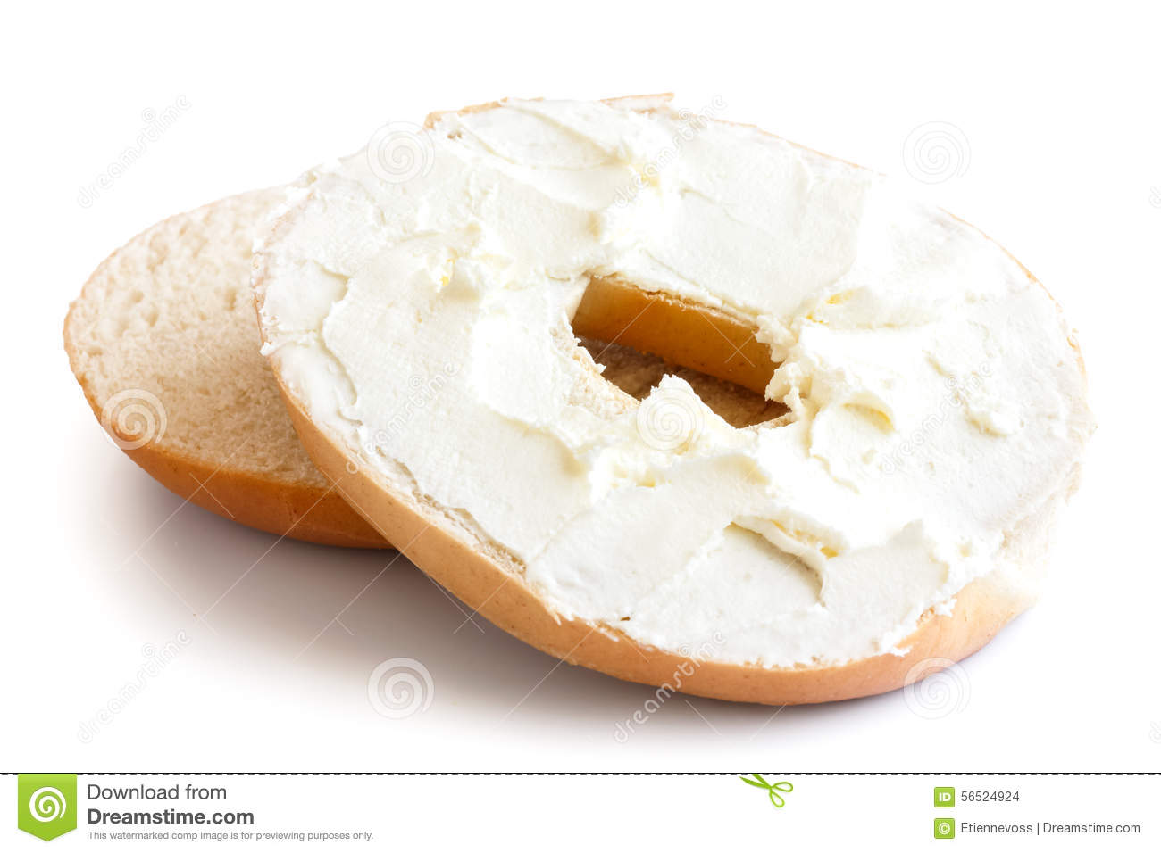 Plain Bagel Cut In Half And Spread With Cream Cheese