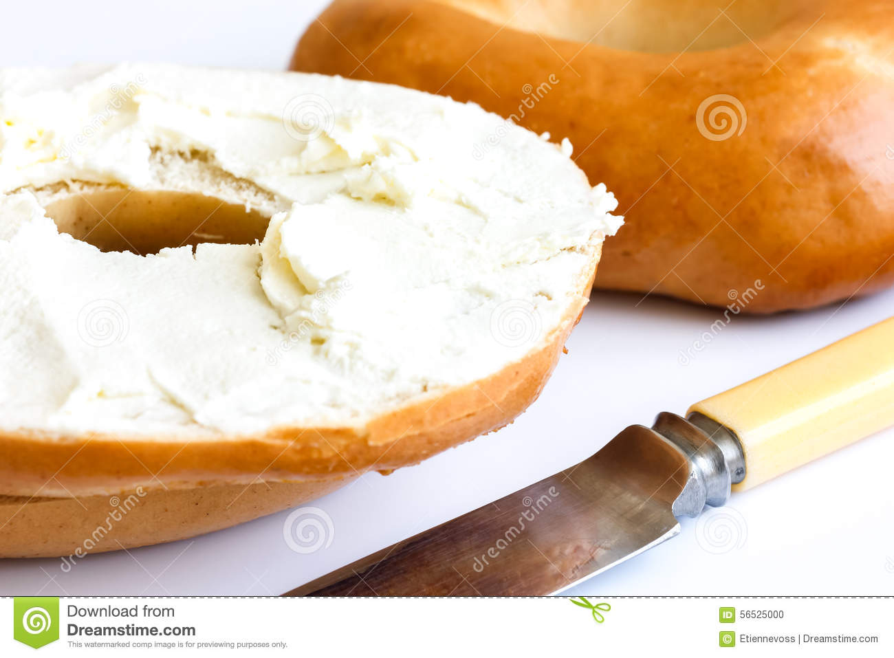 Plain Bagel With Knife, Spread With Cream Cheese, Detail