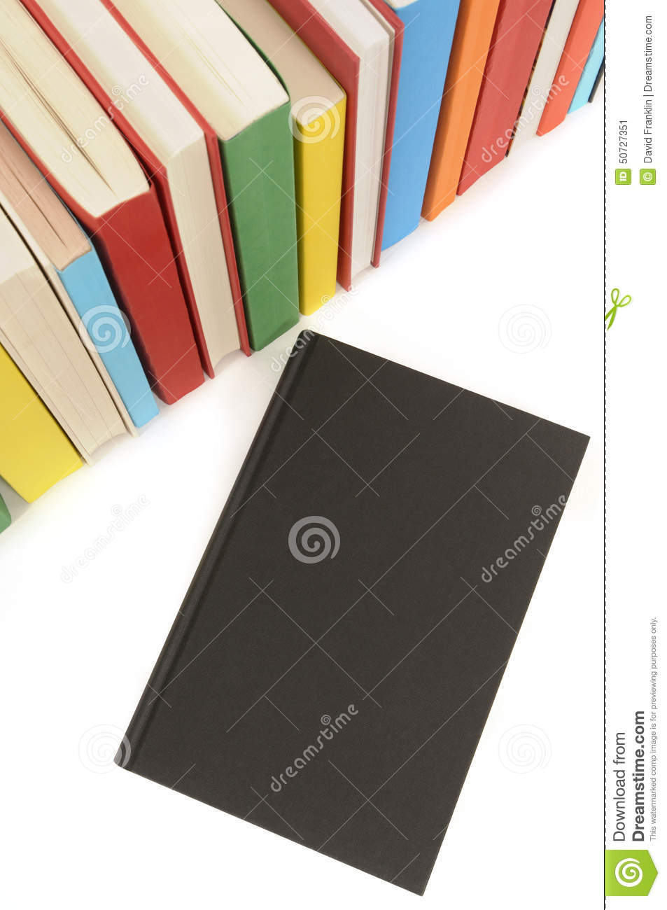 Plain White Book Cover : Plain black book front cover with row of colorful books