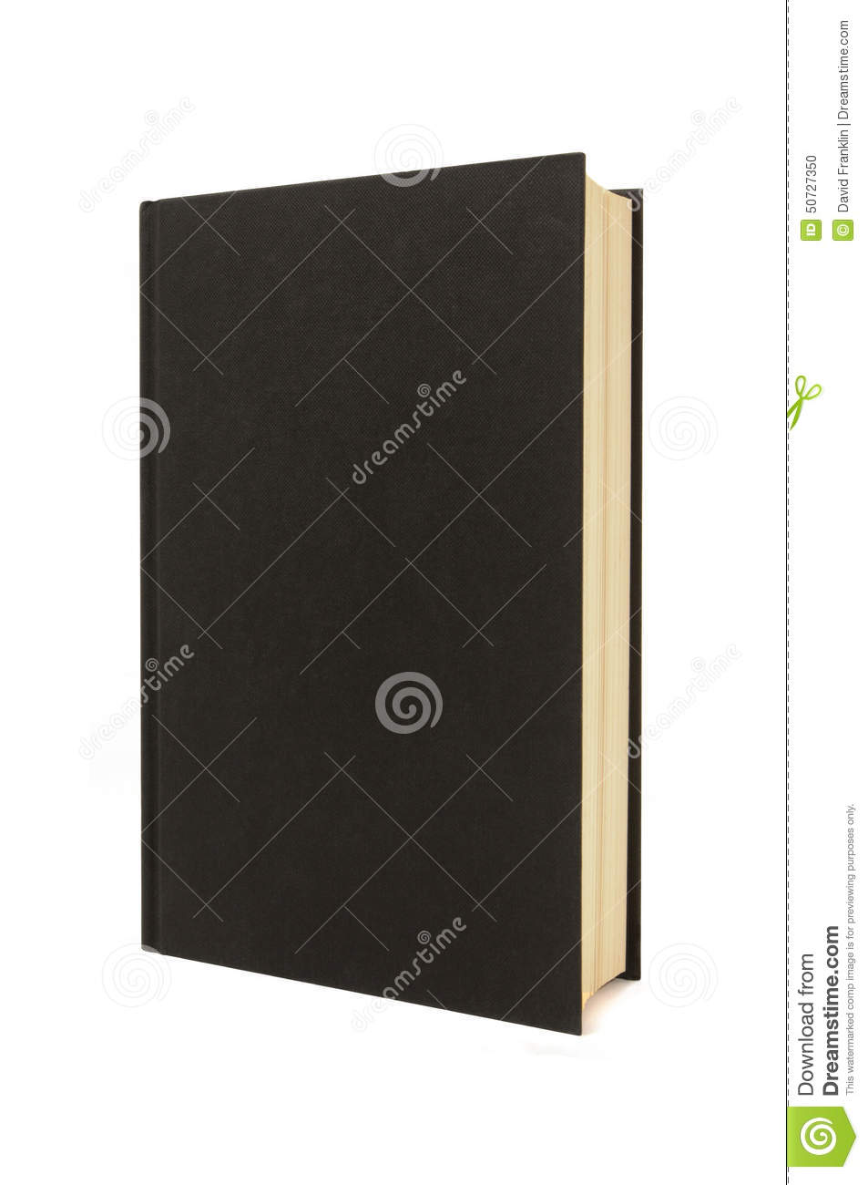 Vertical blank black hardback book or bible standing upright isolated on white background