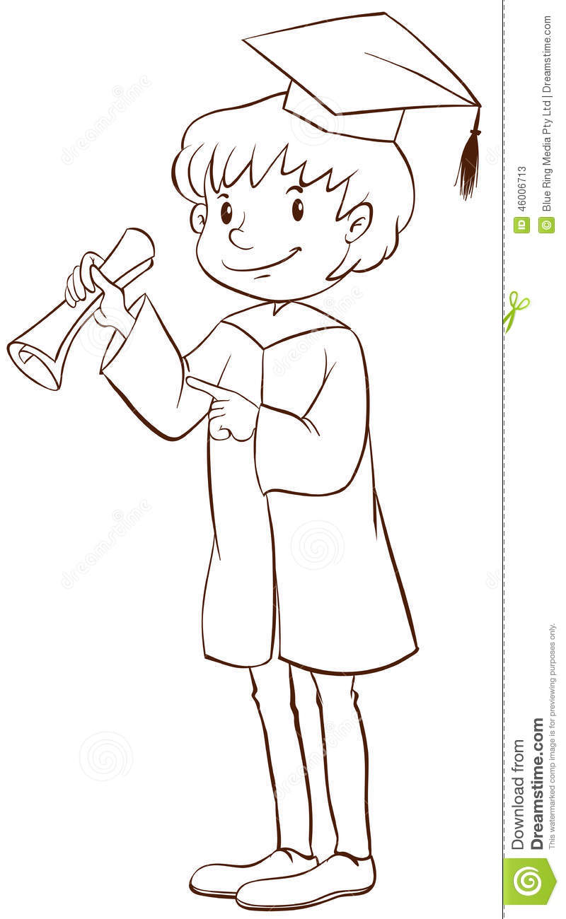 a plain drawing of a boy graduating stock vector image