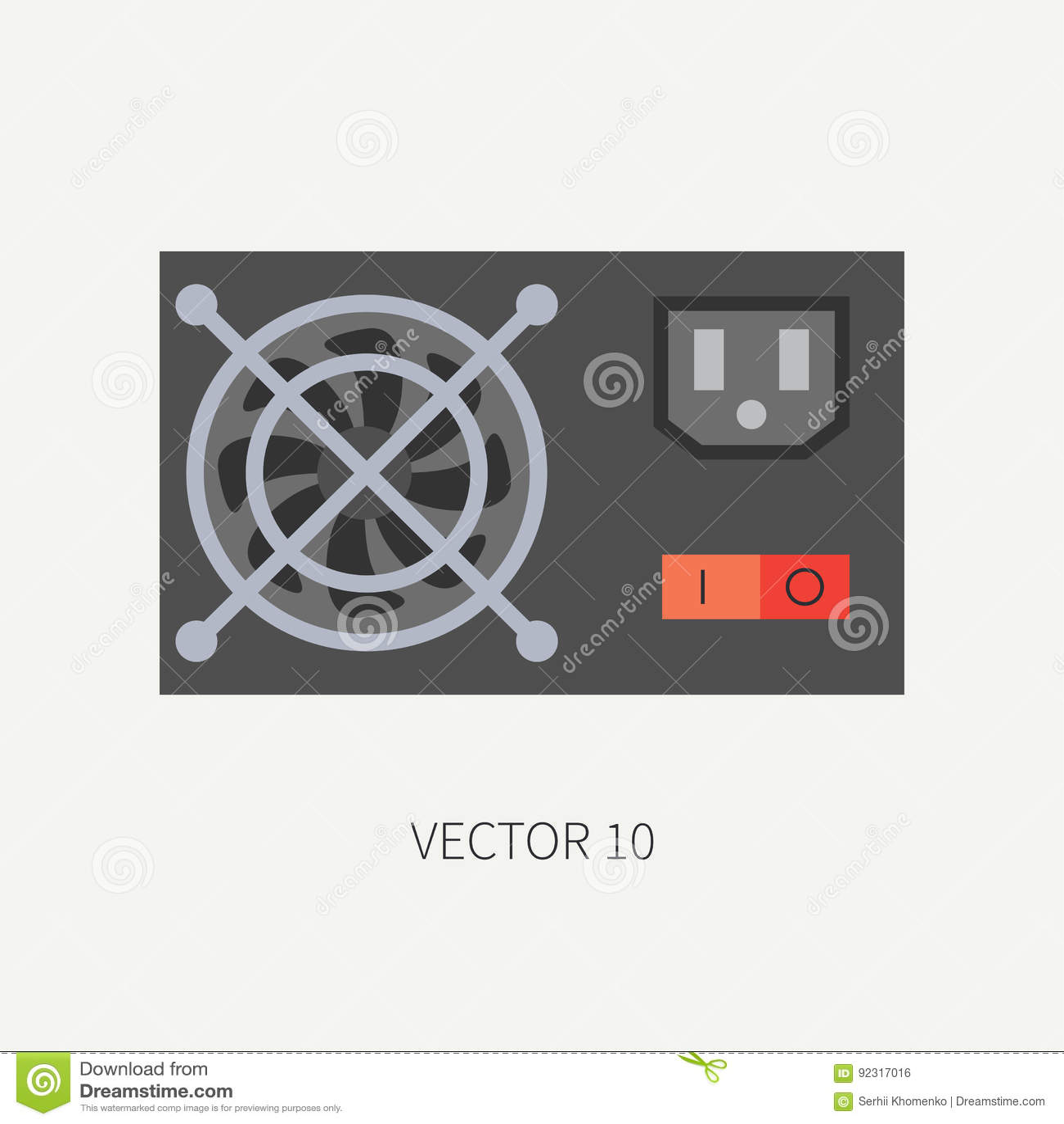 Plain Flat Color Vector Computer Part Icon Power Supply. Cartoon ...