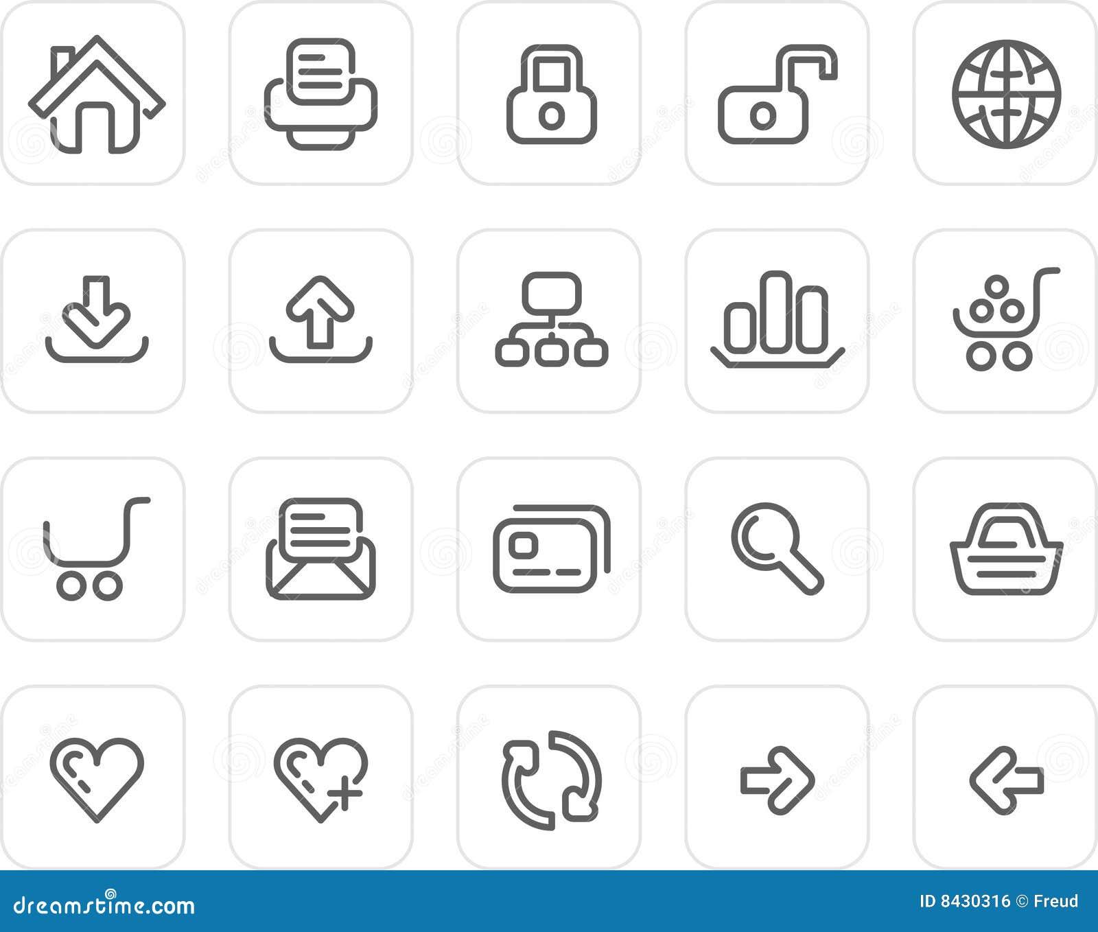 Plain icon set: Website and Internet