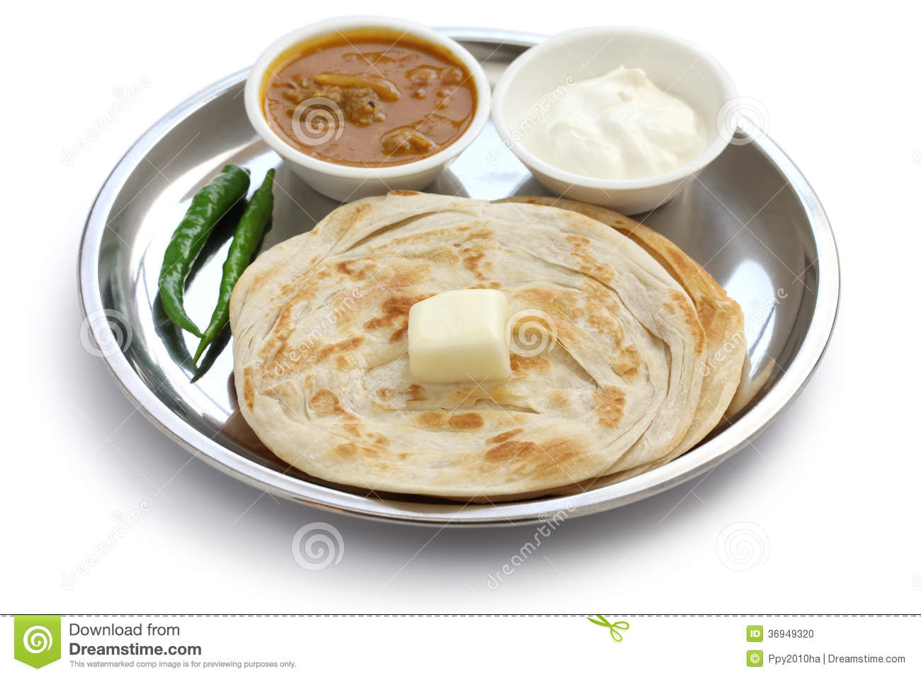 Plain Paratha With Curry And Yogurt Stock Photo - Image: 36949320