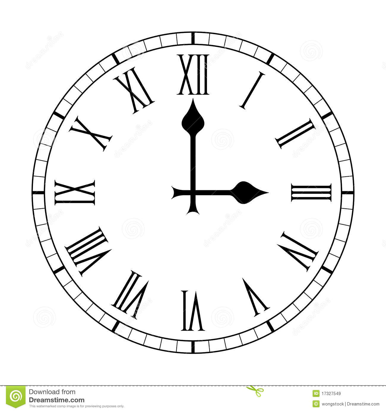 Elegant clock face with roman numerals on a white background.