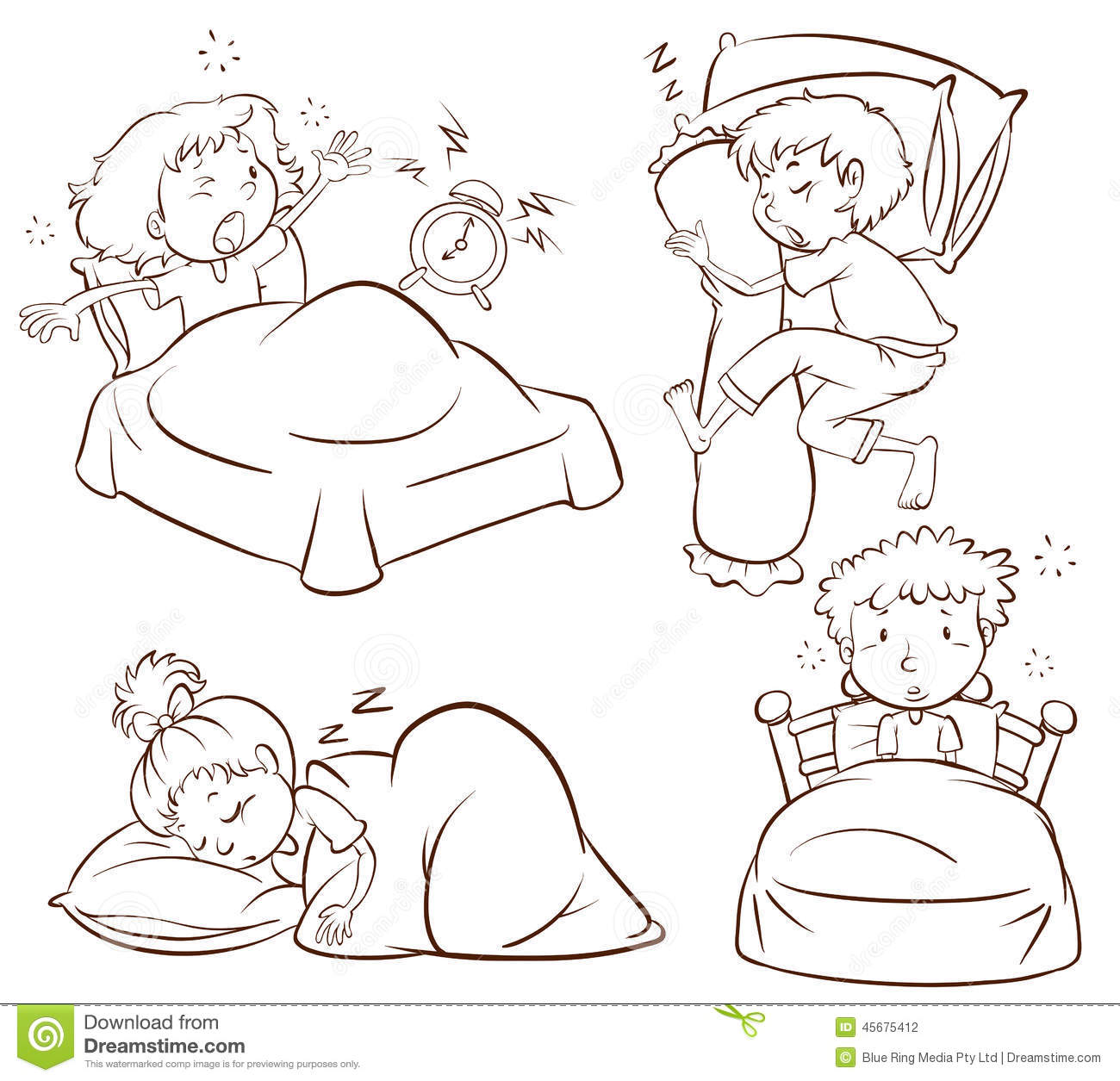 a plain sketch of kids sleeping and waking up early stock