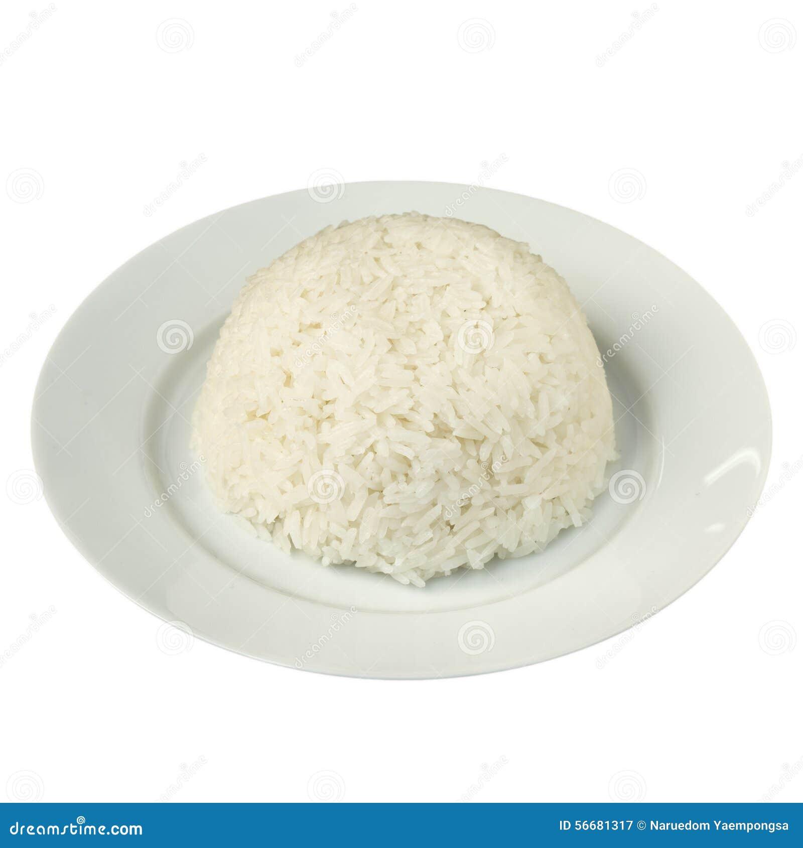 Plain Steamed Jasmine Rice Isolated On White Stock Image