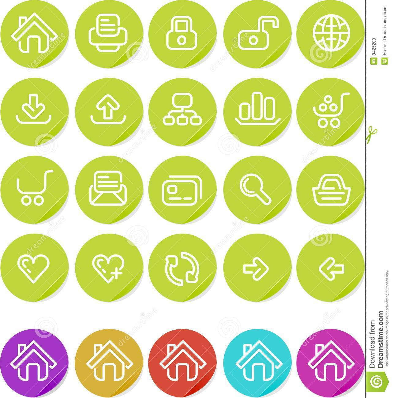 Plain stickers icon set: Website and Internet