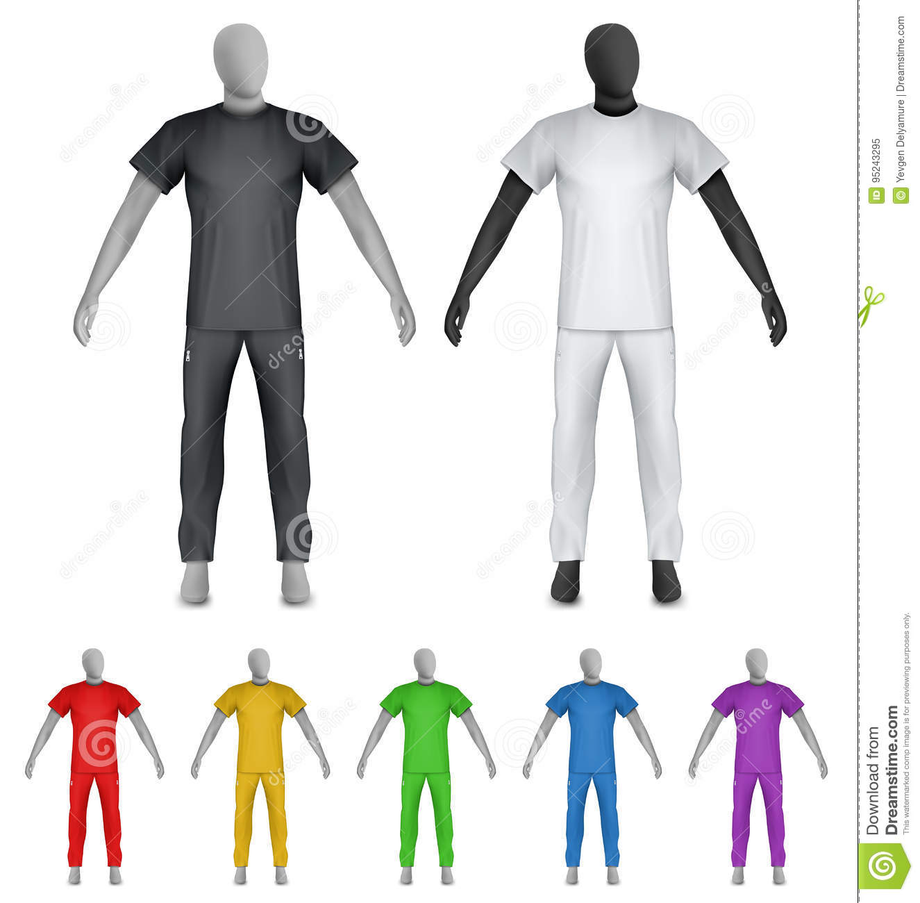 Plain T-shirt And Sweatpants On Mannequin Template Stock Vector ...