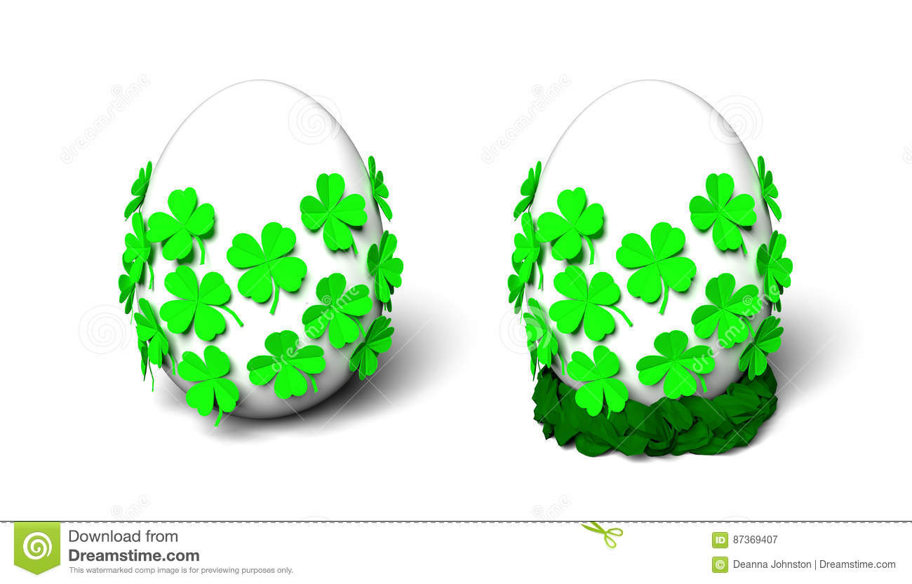 Plain White Egg With Bright Green Folded Paper Four Leaf Clovers And Braided Paper Nest Stock Image Illustration Of Patricks Modeled 87369407