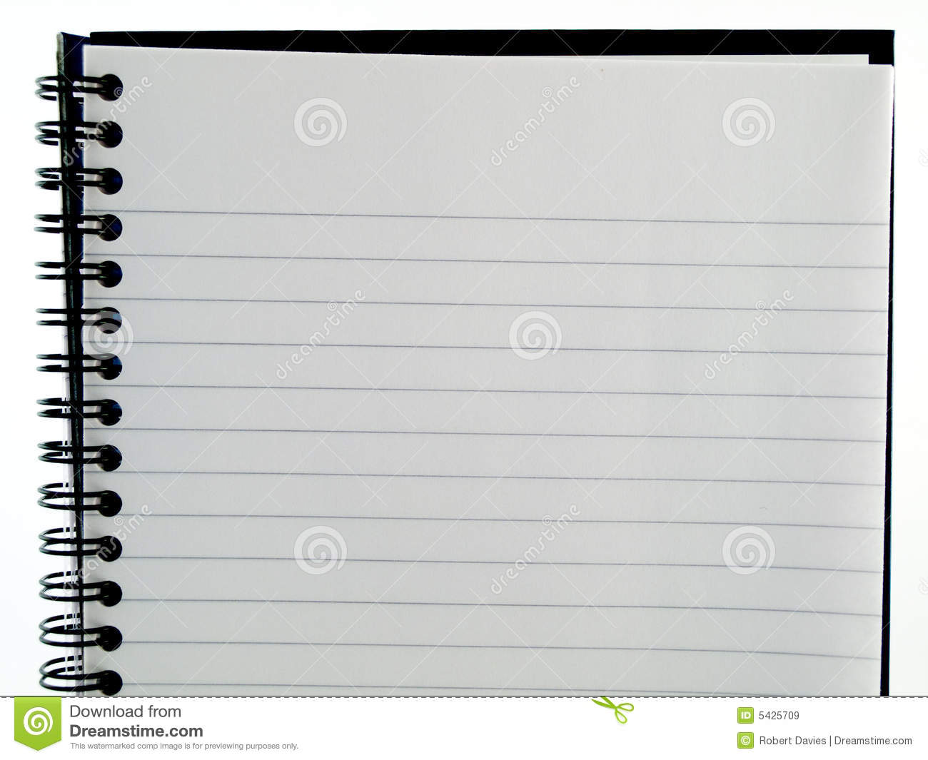 Plain White Lined Ringbound Notebook Page Of Paper Royalty