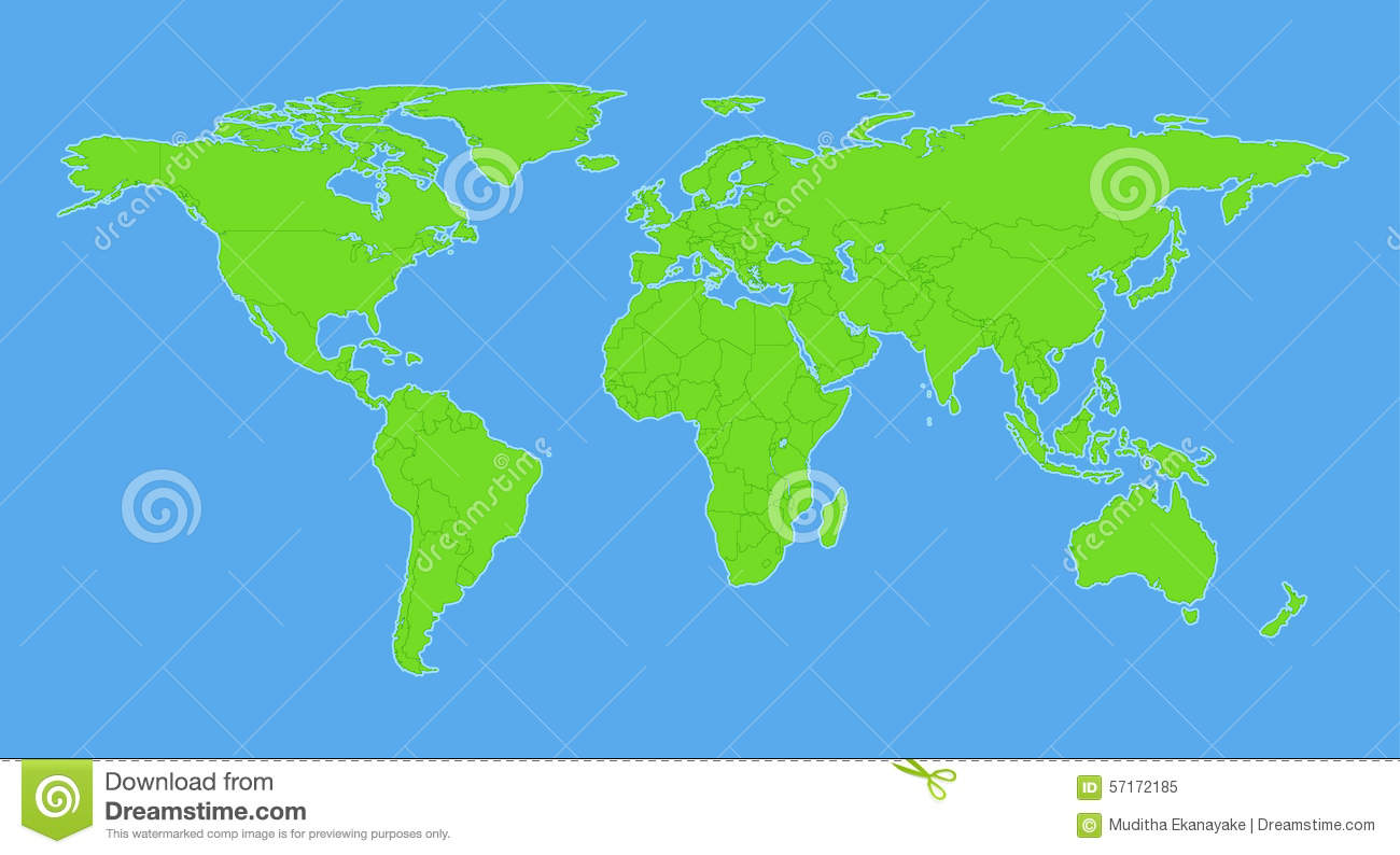 Plain World Map With Countries Stock Vector Illustration of