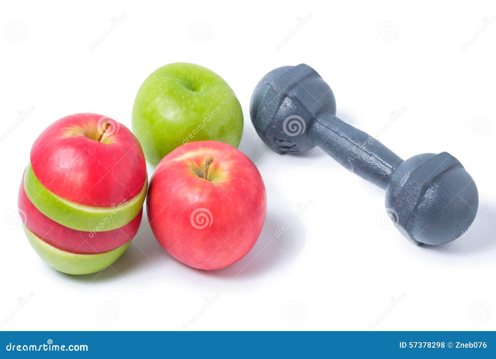 Plak rode en groene appelen met domoor