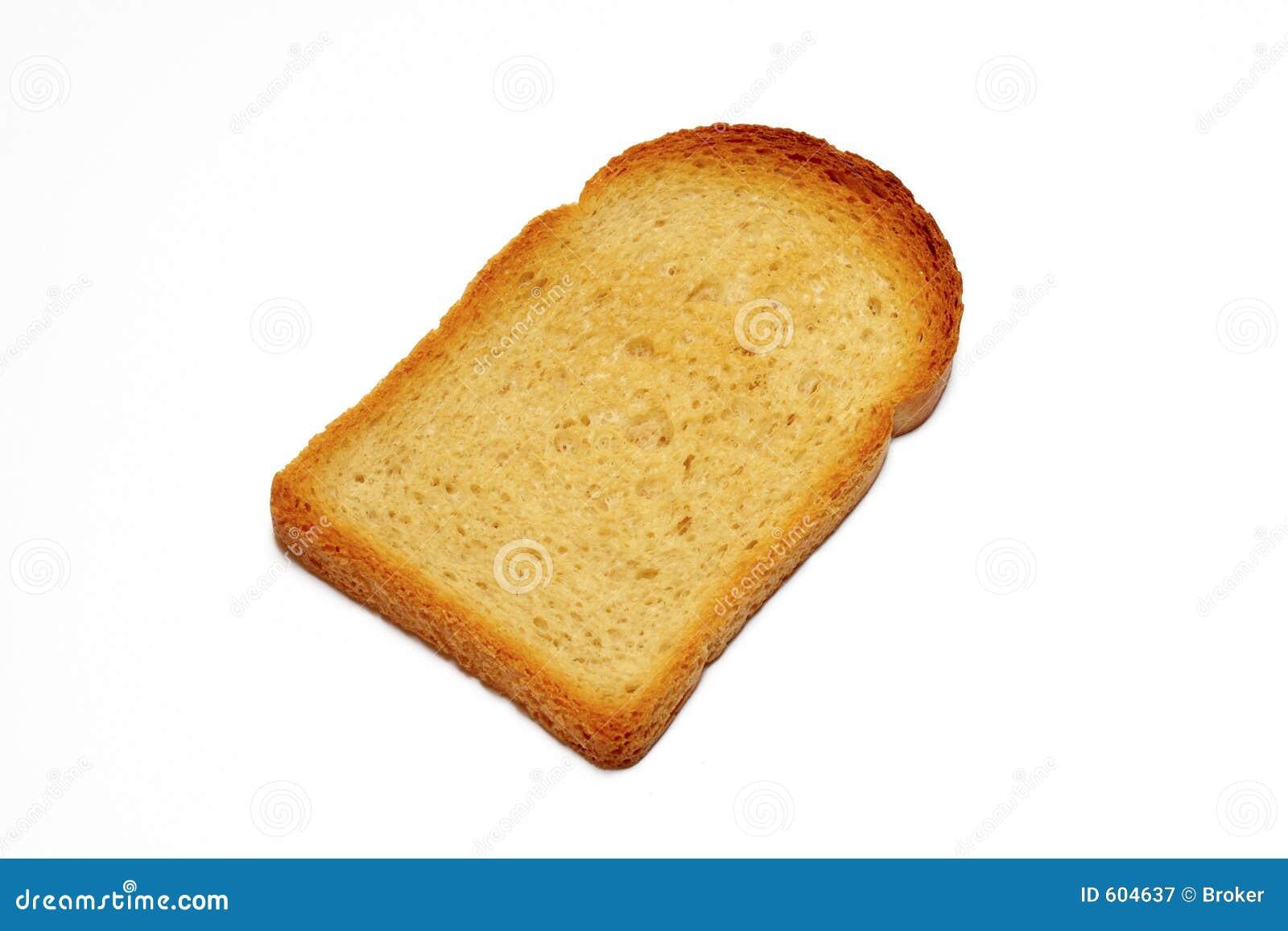 Plak van geroosterd brood op witte achtergrond met het knippen van weg