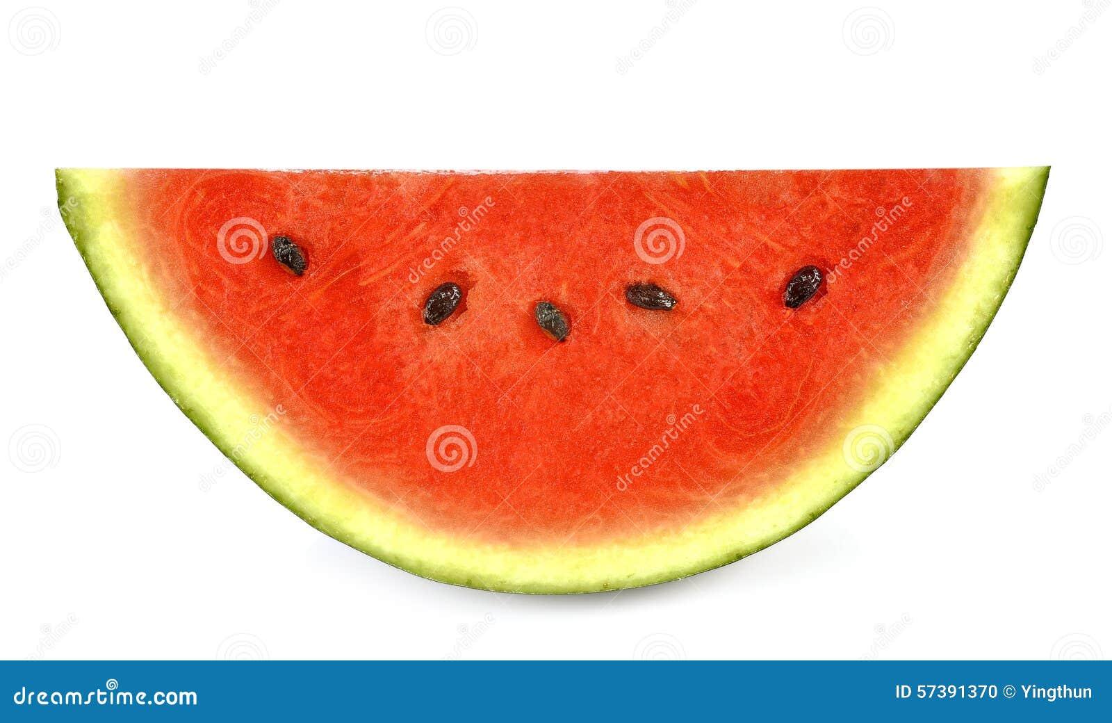 Plak van watermeloen witte achtergrond
