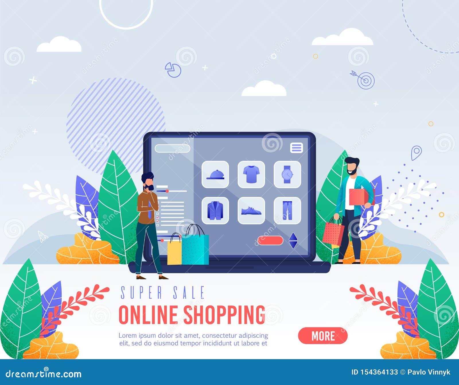 Plakat-Aufschrift-Superverkaufs-on-line-Einkaufen