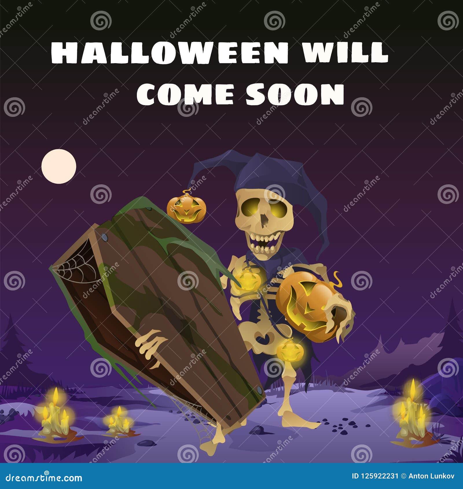 Plakat in der Art des Feiertags alles schlechte Halloween Das Skelett im Hut eines Harlekins, der einen hölzernen Sarg an hält