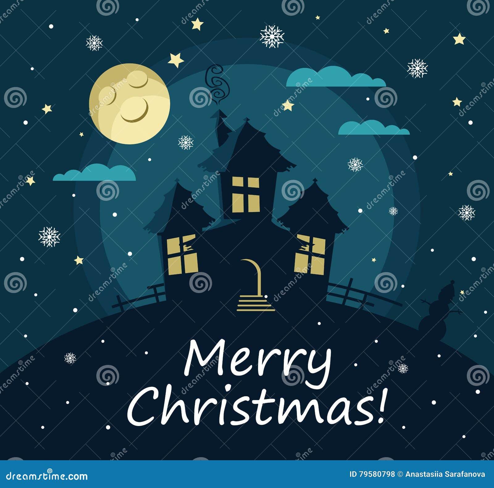 Plakat, Fahne Oder Hintergrund Für Frohe Weihnachten Haus, Mond ...